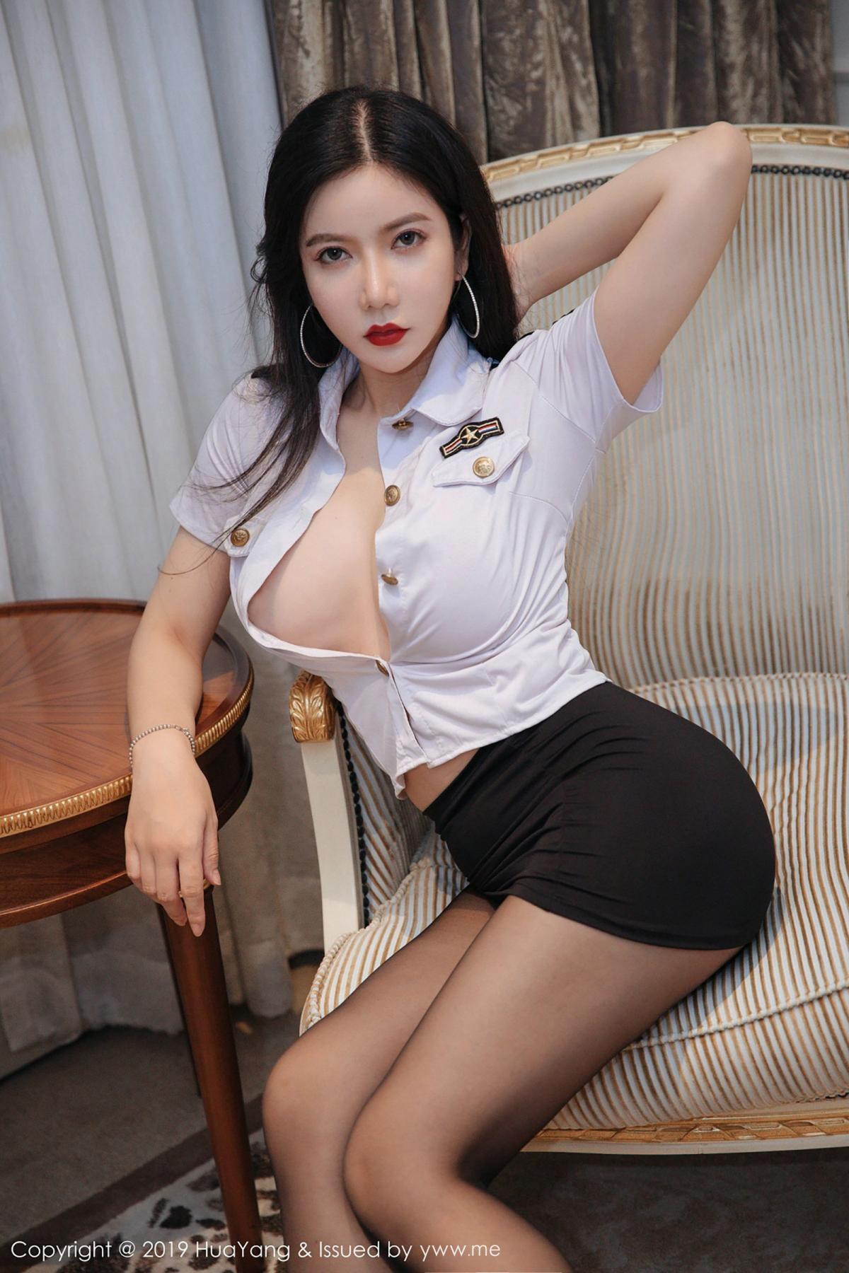 [Huayang] Vol.106 Li Yan Xi 12P, Black Silk, HuaYang, Li Yan Xi, Stewardess, Tall
