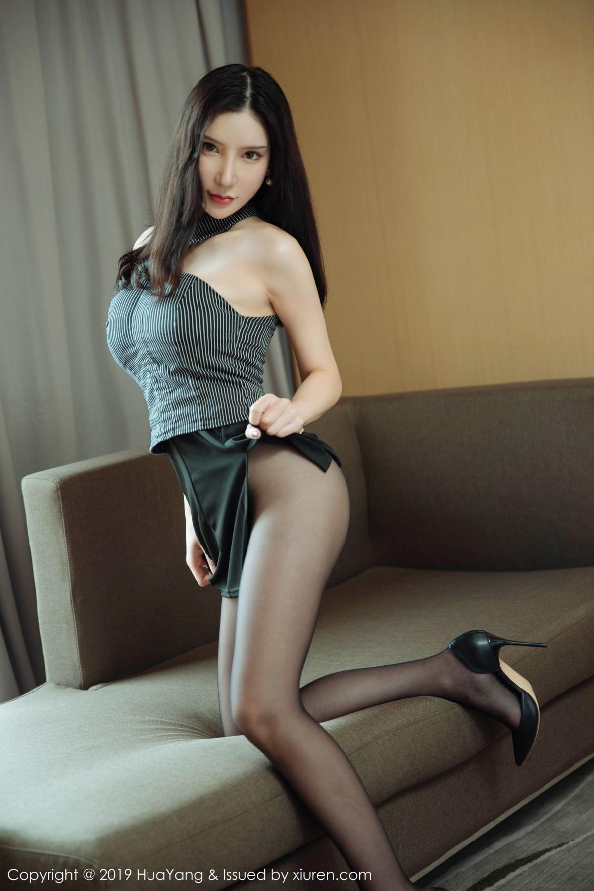 [Huayang] Vol.127 Zhou Yu Xi 10P, Black Silk, HuaYang, Tall, Underwear, Zhou Yu Xi