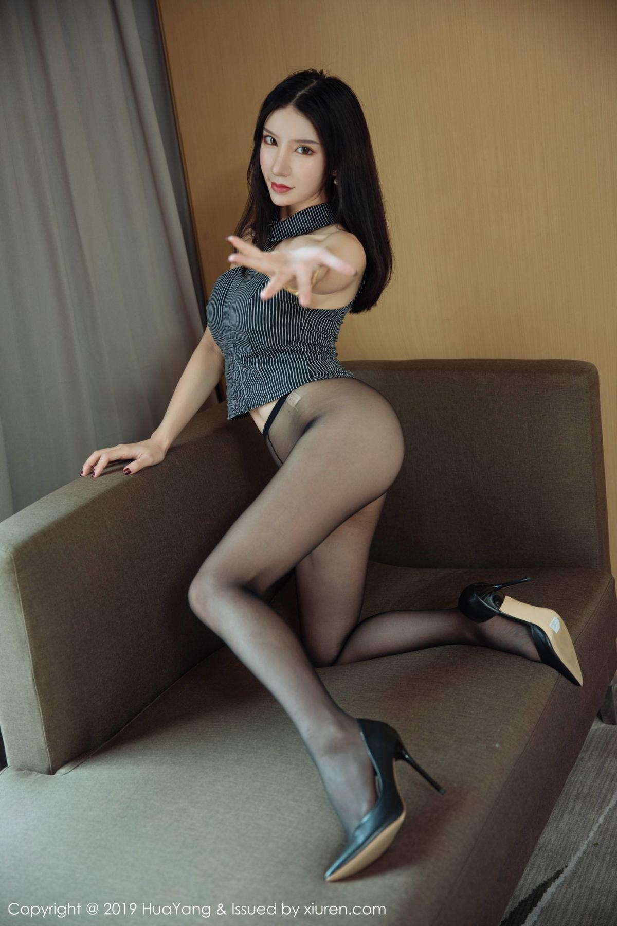 [Huayang] Vol.127 Zhou Yu Xi 16P, Black Silk, HuaYang, Tall, Underwear, Zhou Yu Xi