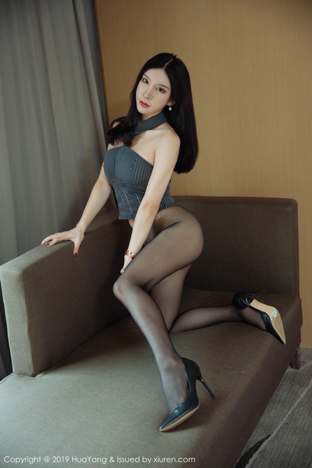 [Huayang] Vol.127 Zhou Yu Xi 17P, Black Silk, HuaYang, Tall, Underwear, Zhou Yu Xi