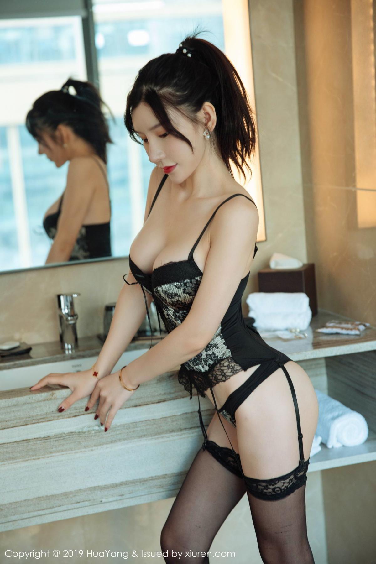 [Huayang] Vol.127 Zhou Yu Xi 24P, Black Silk, HuaYang, Tall, Underwear, Zhou Yu Xi