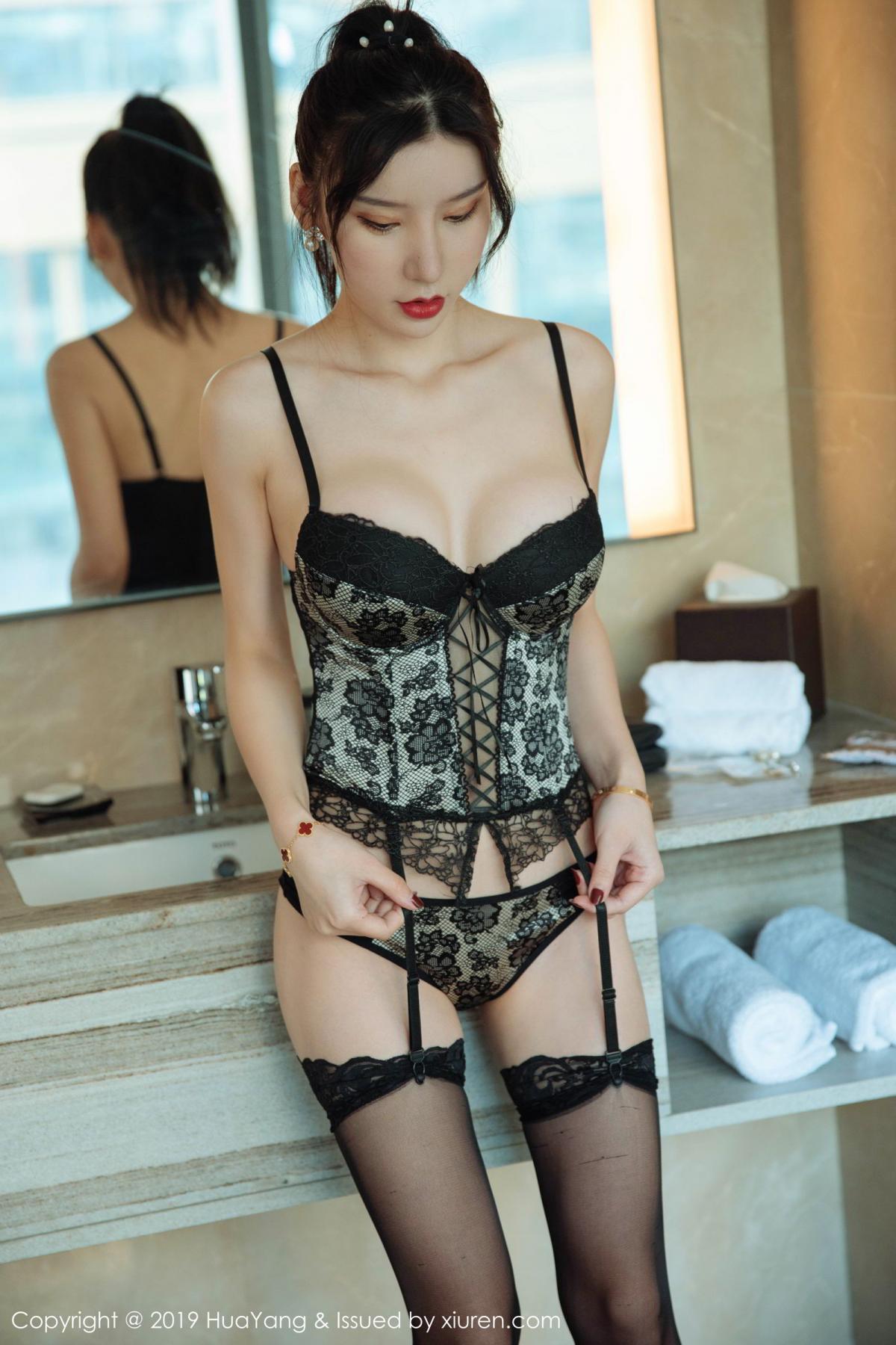 [Huayang] Vol.127 Zhou Yu Xi 25P, Black Silk, HuaYang, Tall, Underwear, Zhou Yu Xi