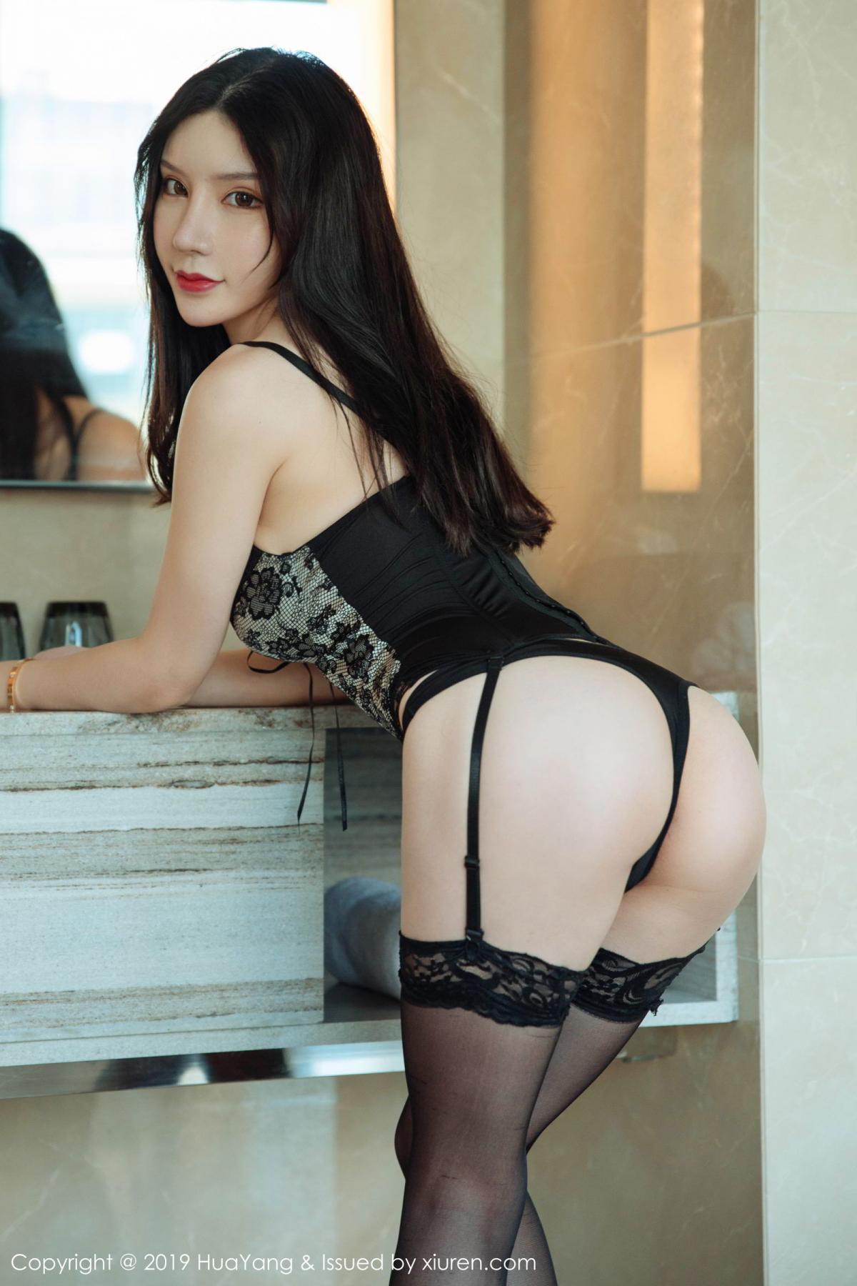[Huayang] Vol.127 Zhou Yu Xi 30P, Black Silk, HuaYang, Tall, Underwear, Zhou Yu Xi
