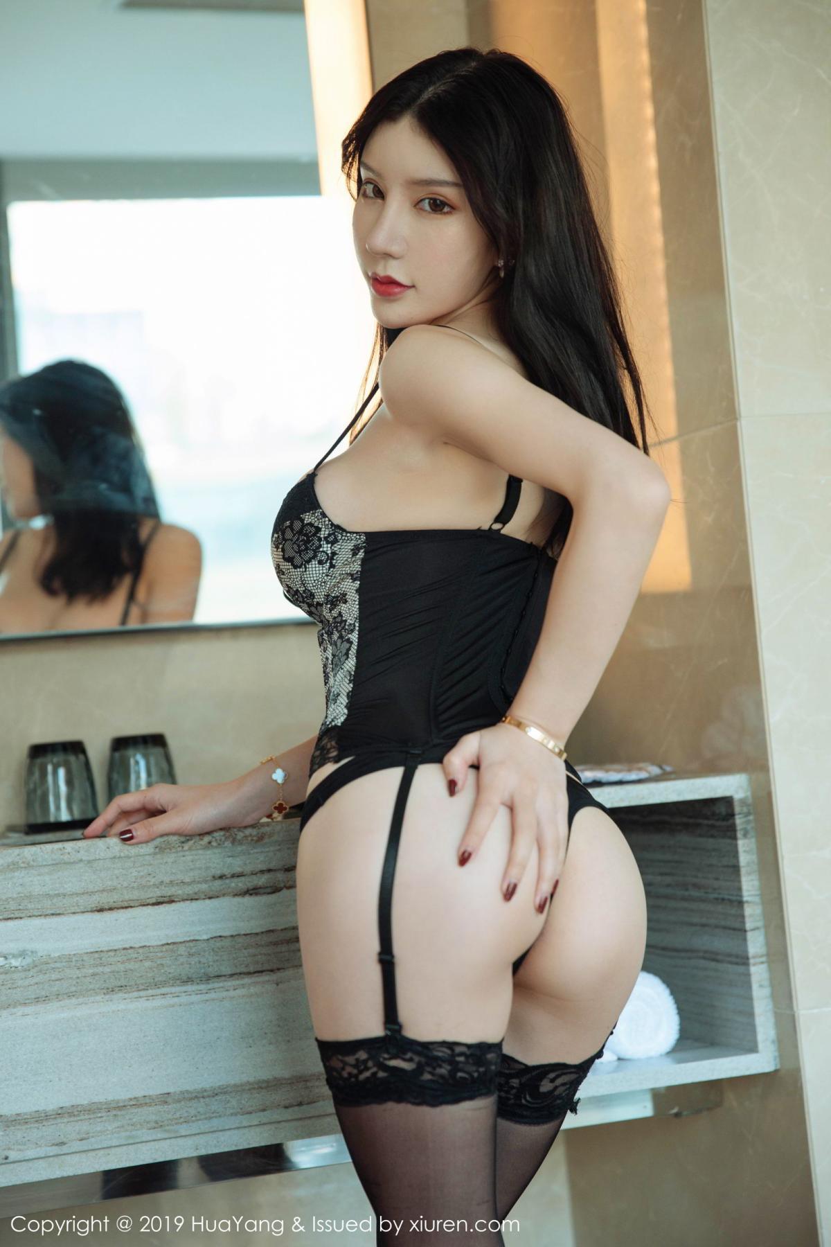 [Huayang] Vol.127 Zhou Yu Xi 31P, Black Silk, HuaYang, Tall, Underwear, Zhou Yu Xi