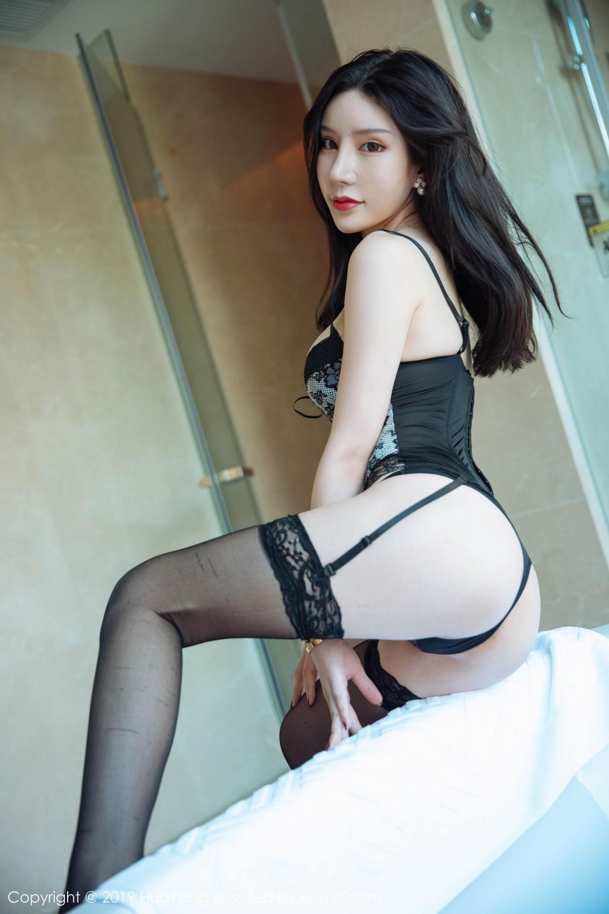 [Huayang] Vol.127 Zhou Yu Xi 40P, Black Silk, HuaYang, Tall, Underwear, Zhou Yu Xi