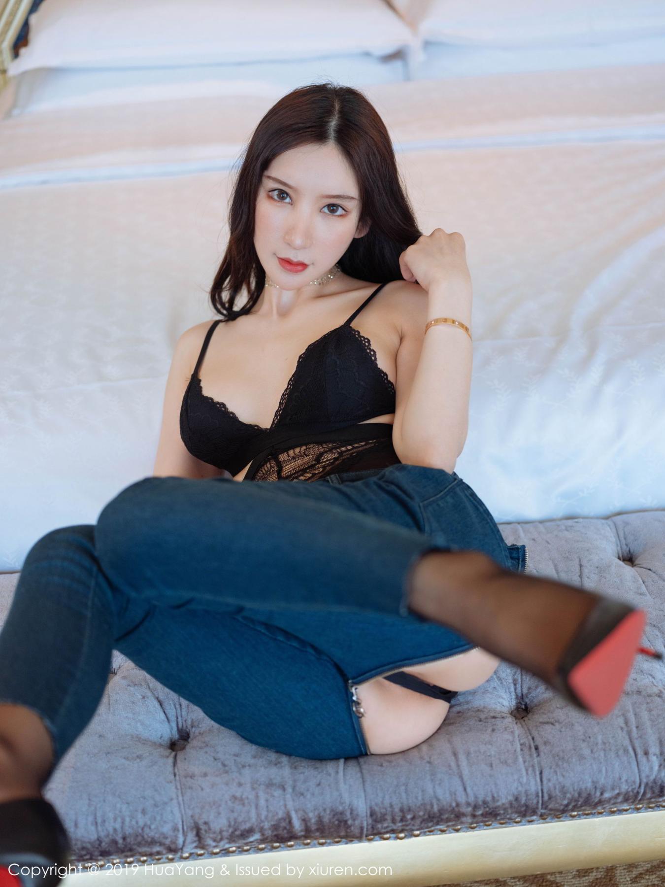 [Huayang] Vol.135 Zhou Yu Xi 22P, Black Silk, HuaYang, Underwear, Zhou Yu Xi