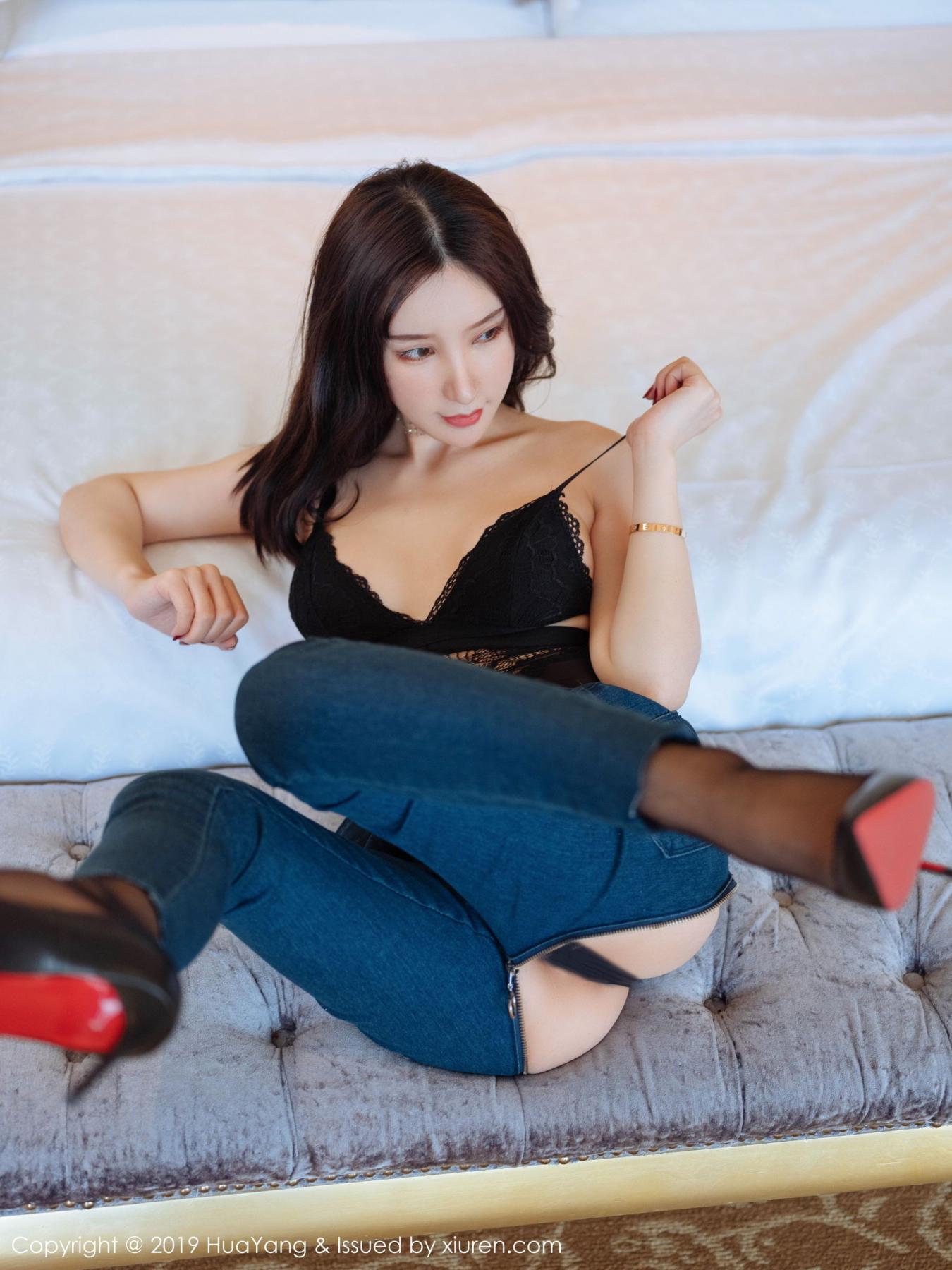 [Huayang] Vol.135 Zhou Yu Xi 24P, Black Silk, HuaYang, Underwear, Zhou Yu Xi