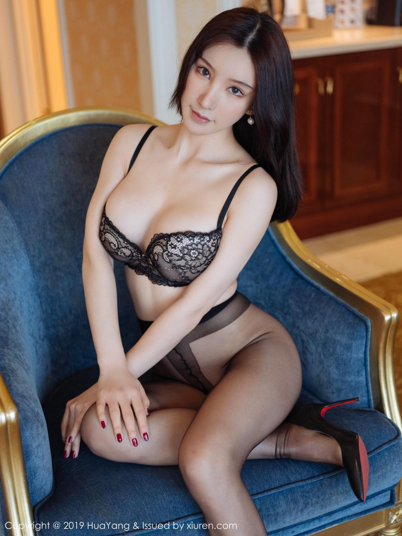 [Huayang] Vol.135 Zhou Yu Xi 2P, Black Silk, HuaYang, Underwear, Zhou Yu Xi