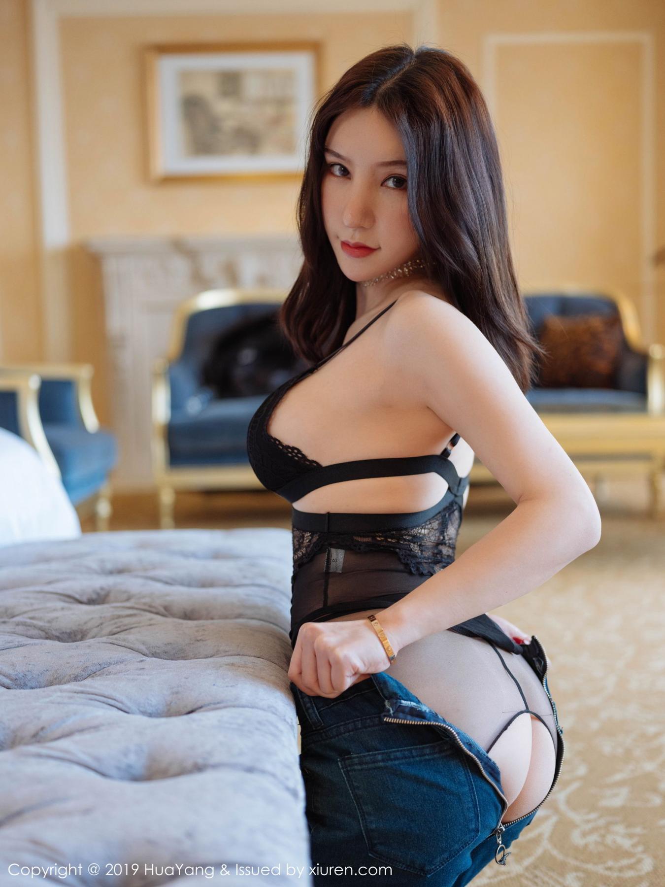 [Huayang] Vol.135 Zhou Yu Xi 34P, Black Silk, HuaYang, Underwear, Zhou Yu Xi