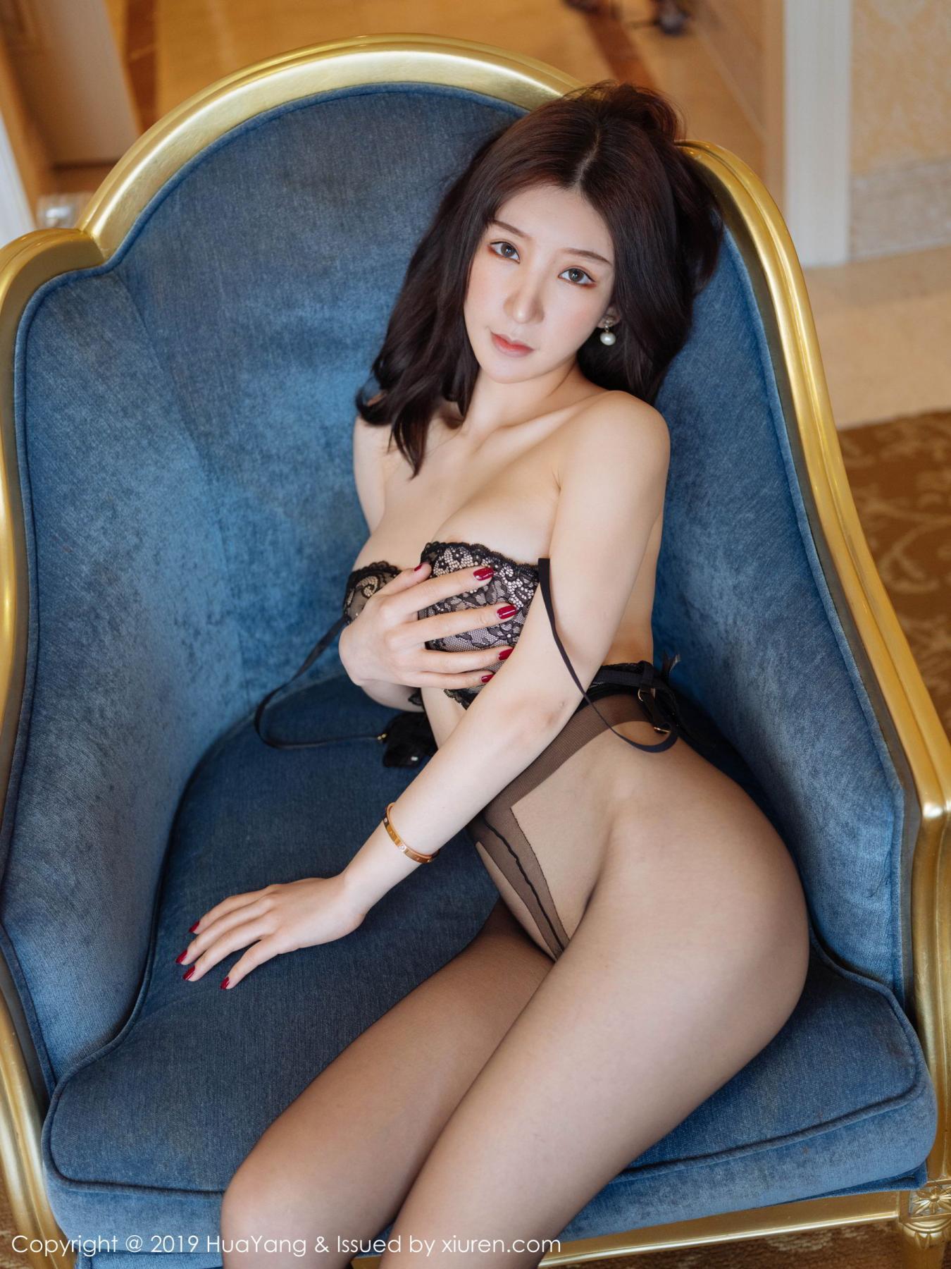 [Huayang] Vol.135 Zhou Yu Xi 3P, Black Silk, HuaYang, Underwear, Zhou Yu Xi