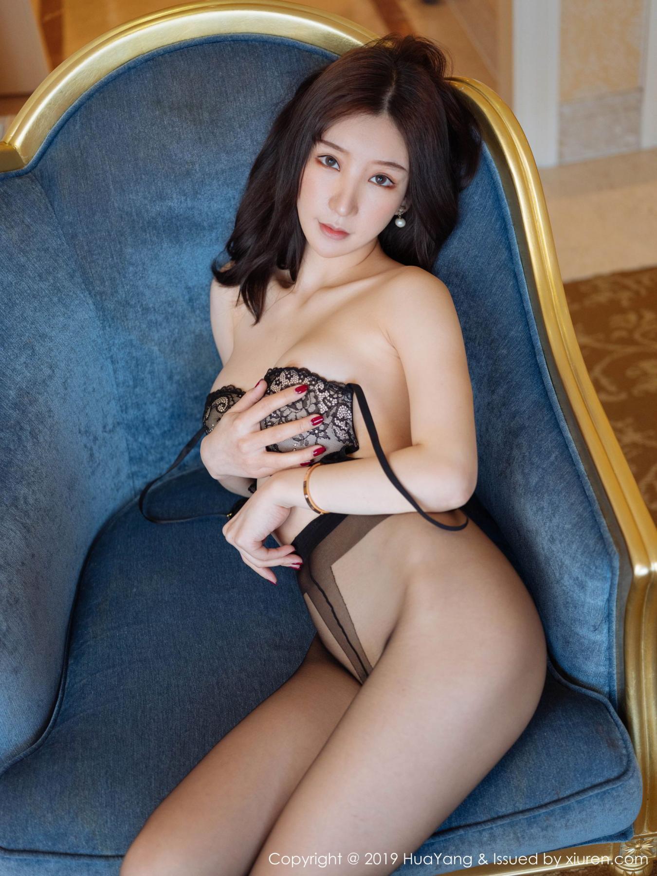 [Huayang] Vol.135 Zhou Yu Xi 4P, Black Silk, HuaYang, Underwear, Zhou Yu Xi