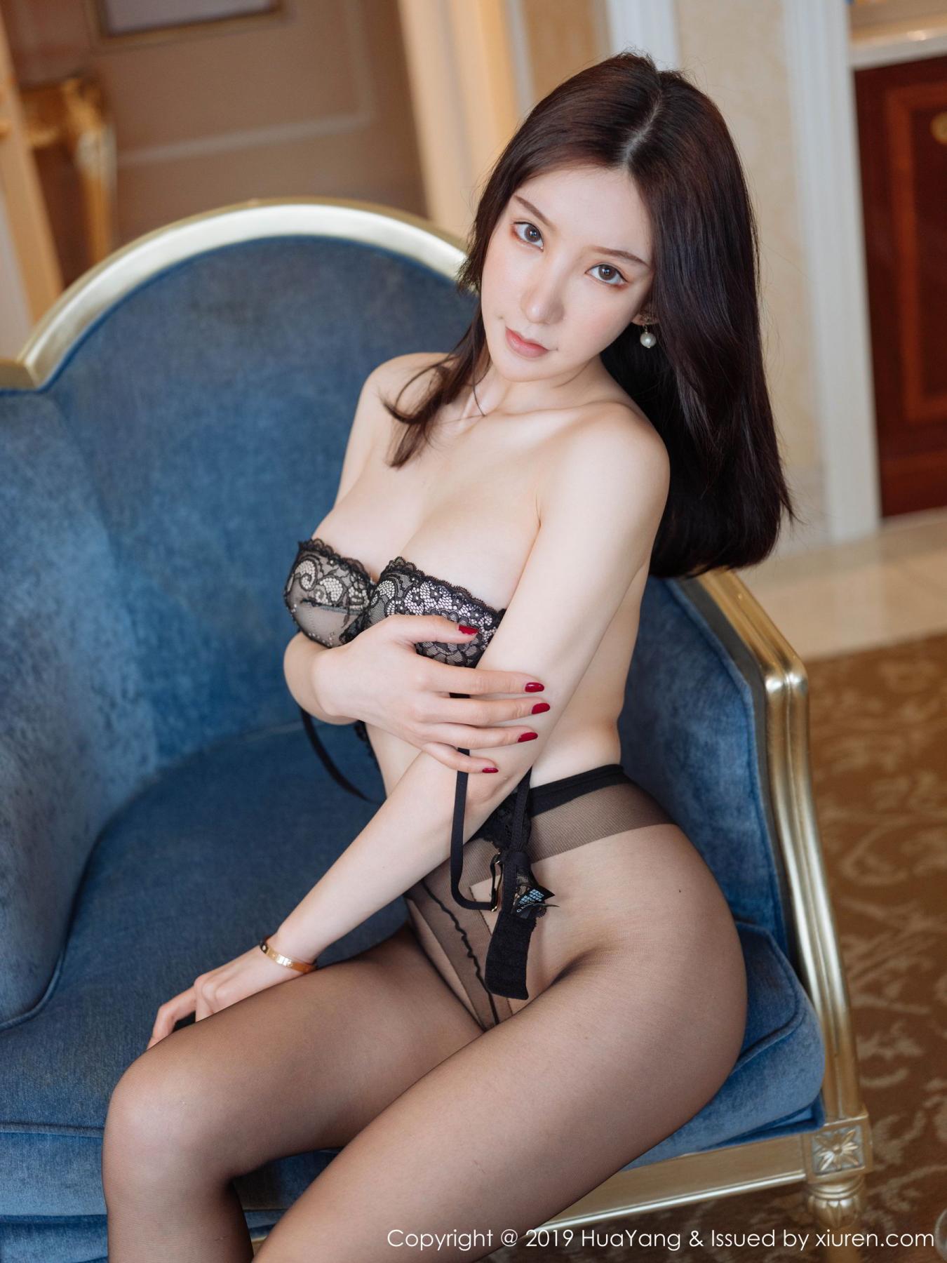 [Huayang] Vol.135 Zhou Yu Xi 5P, Black Silk, HuaYang, Underwear, Zhou Yu Xi