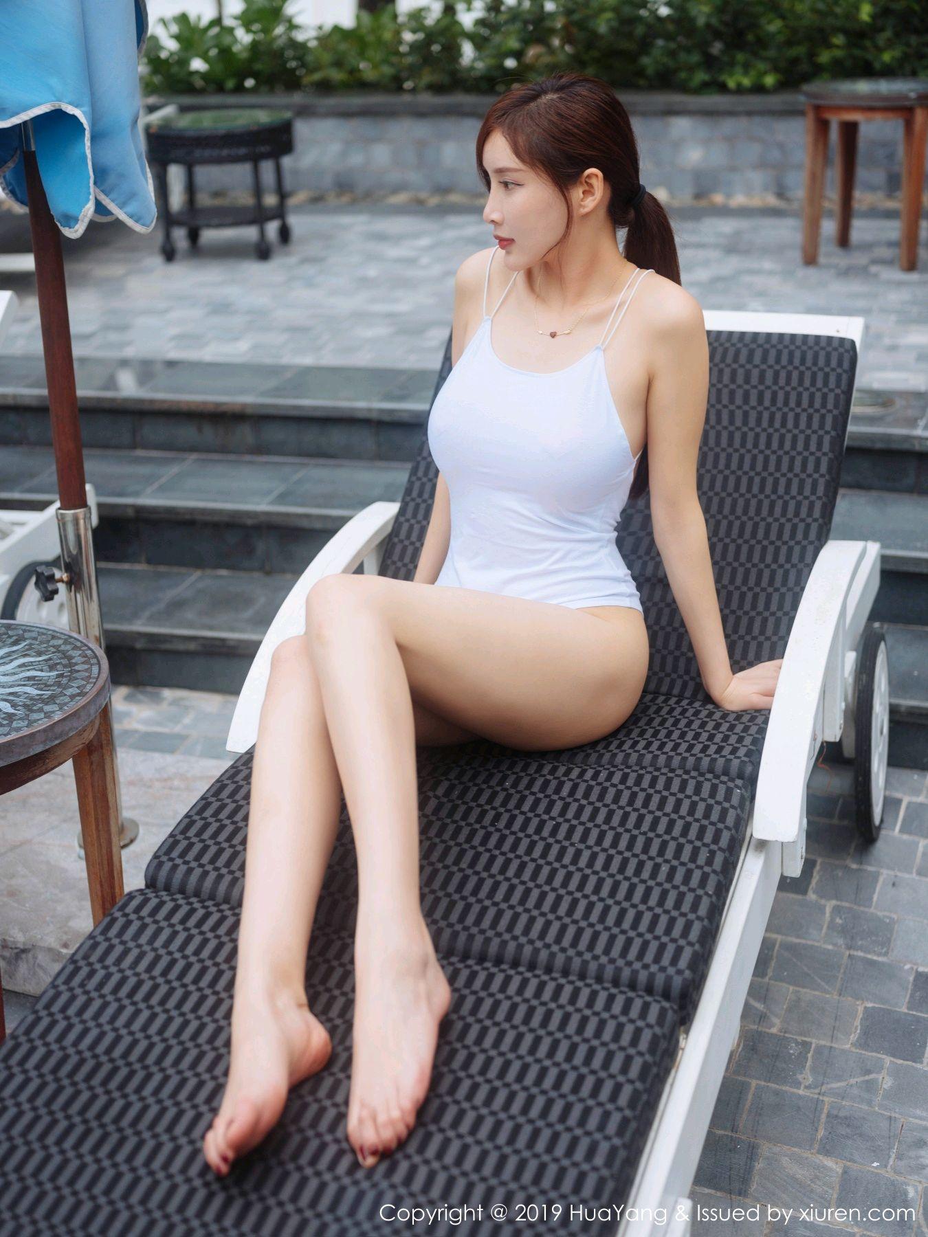 [Huayang] Vol.149 Zhou Yan Xi 29P, Beach, Bikini, Black Silk, HuaYang, Tall, Zhou Yan Xi