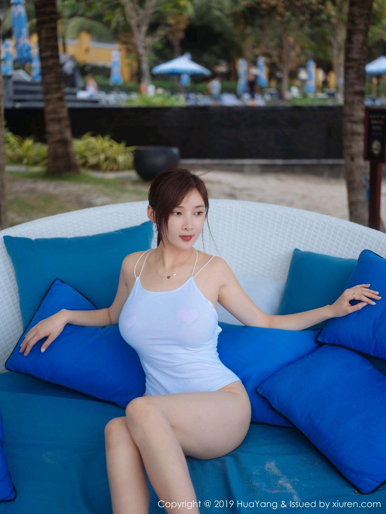 [Huayang] Vol.149 Zhou Yan Xi 33P, Beach, Bikini, Black Silk, HuaYang, Tall, Zhou Yan Xi