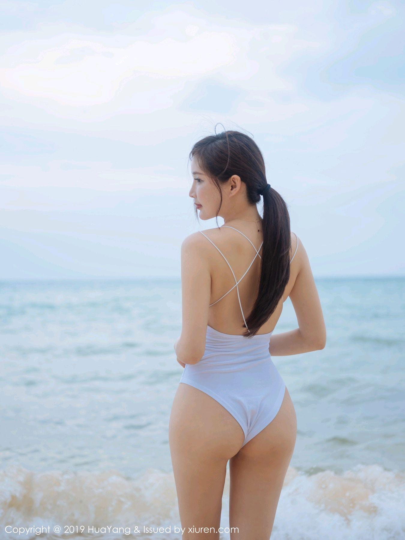 [Huayang] Vol.149 Zhou Yan Xi 35P, Beach, Bikini, Black Silk, HuaYang, Tall, Zhou Yan Xi