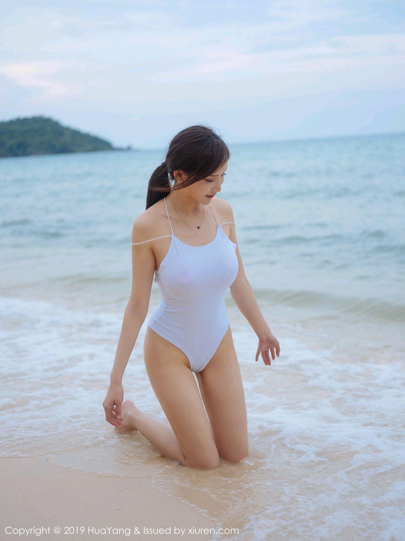 [Huayang] Vol.149 Zhou Yan Xi 38P, Beach, Bikini, Black Silk, HuaYang, Tall, Zhou Yan Xi