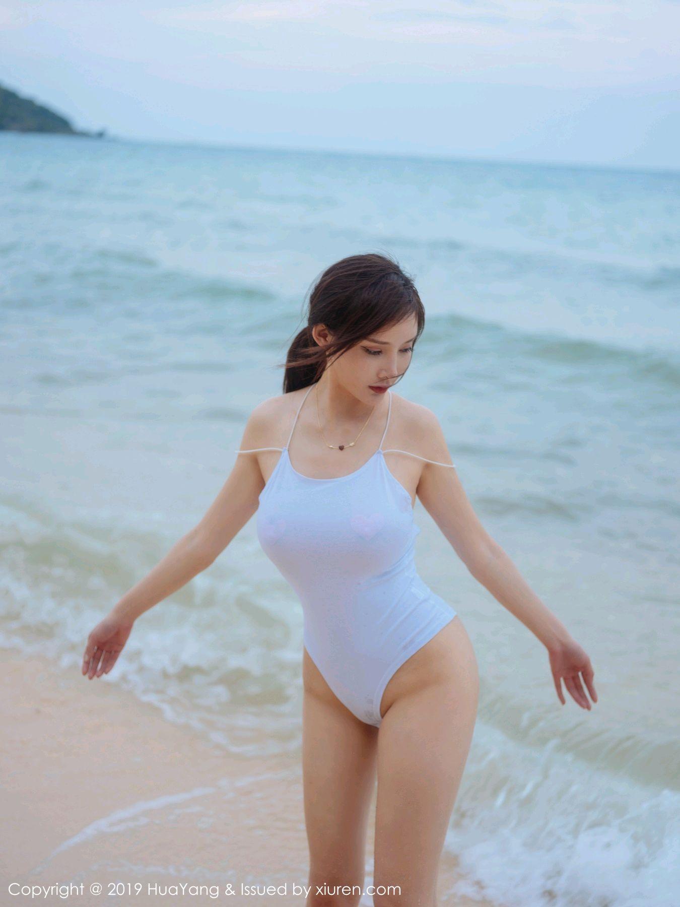 [Huayang] Vol.149 Zhou Yan Xi 40P, Beach, Bikini, Black Silk, HuaYang, Tall, Zhou Yan Xi