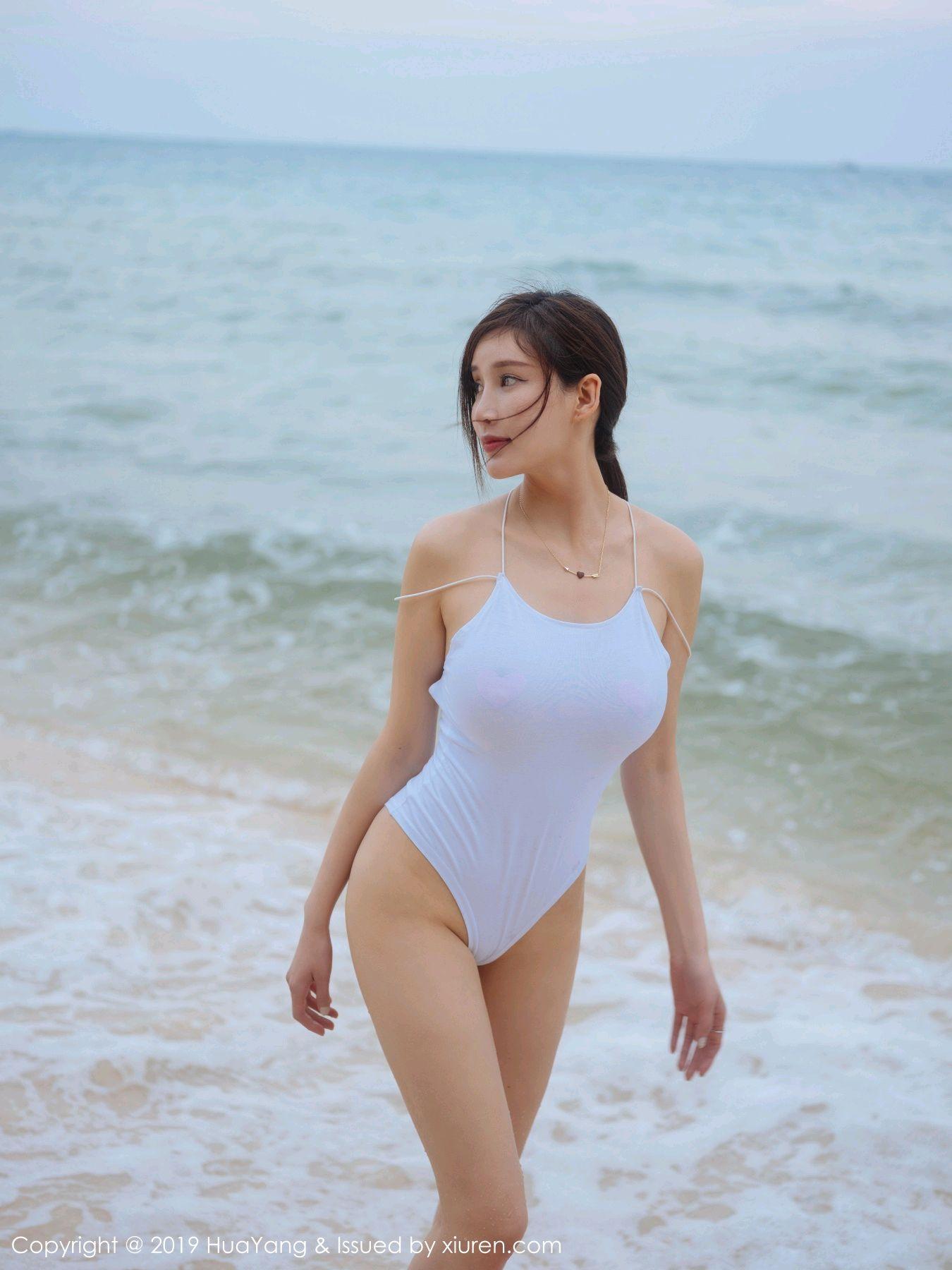 [Huayang] Vol.149 Zhou Yan Xi 43P, Beach, Bikini, Black Silk, HuaYang, Tall, Zhou Yan Xi
