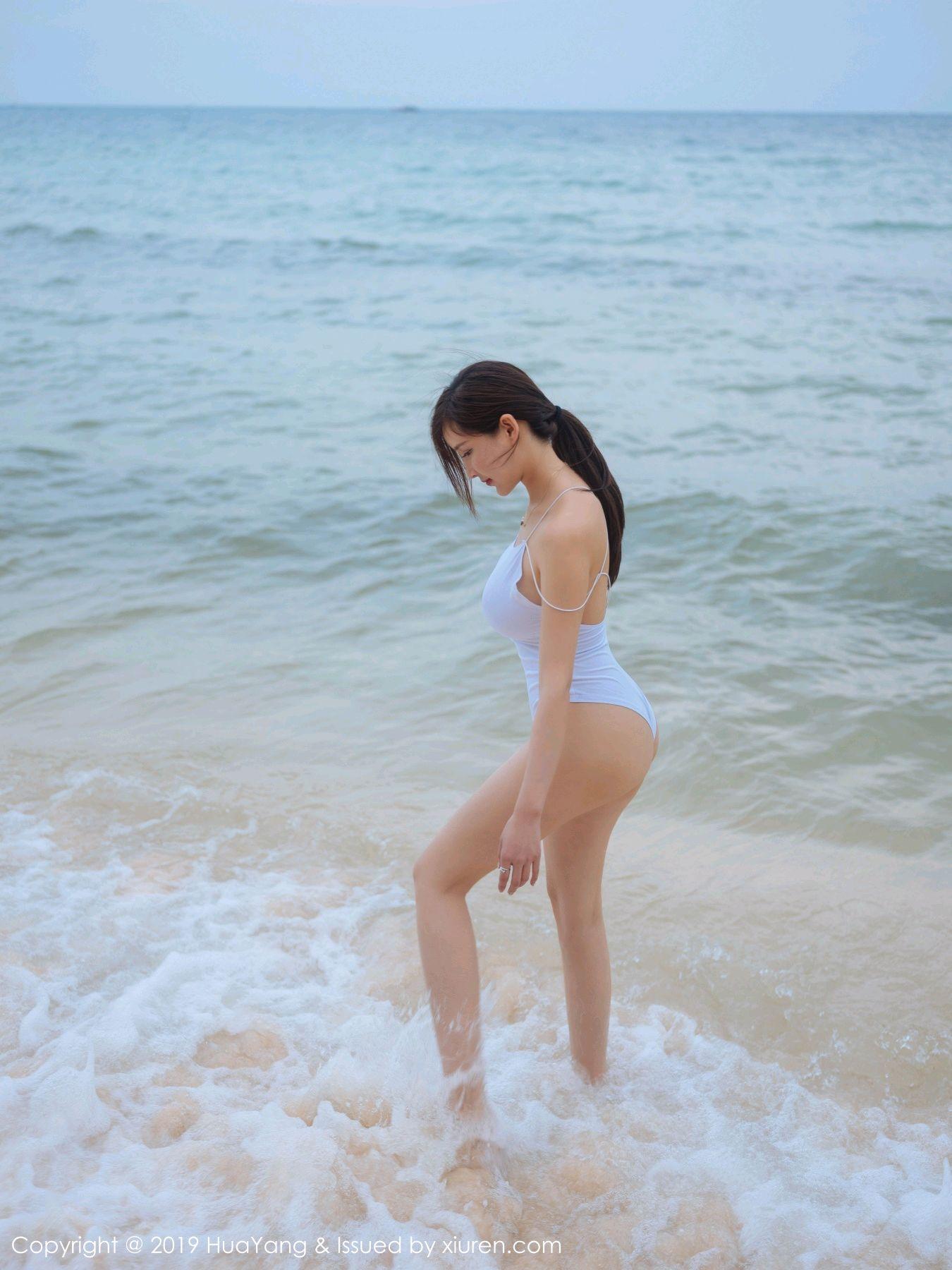 [Huayang] Vol.149 Zhou Yan Xi 46P, Beach, Bikini, Black Silk, HuaYang, Tall, Zhou Yan Xi