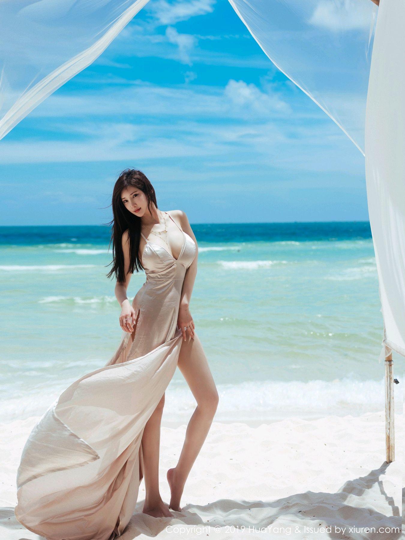 [Huayang] Vol.149 Zhou Yan Xi 48P, Beach, Bikini, Black Silk, HuaYang, Tall, Zhou Yan Xi