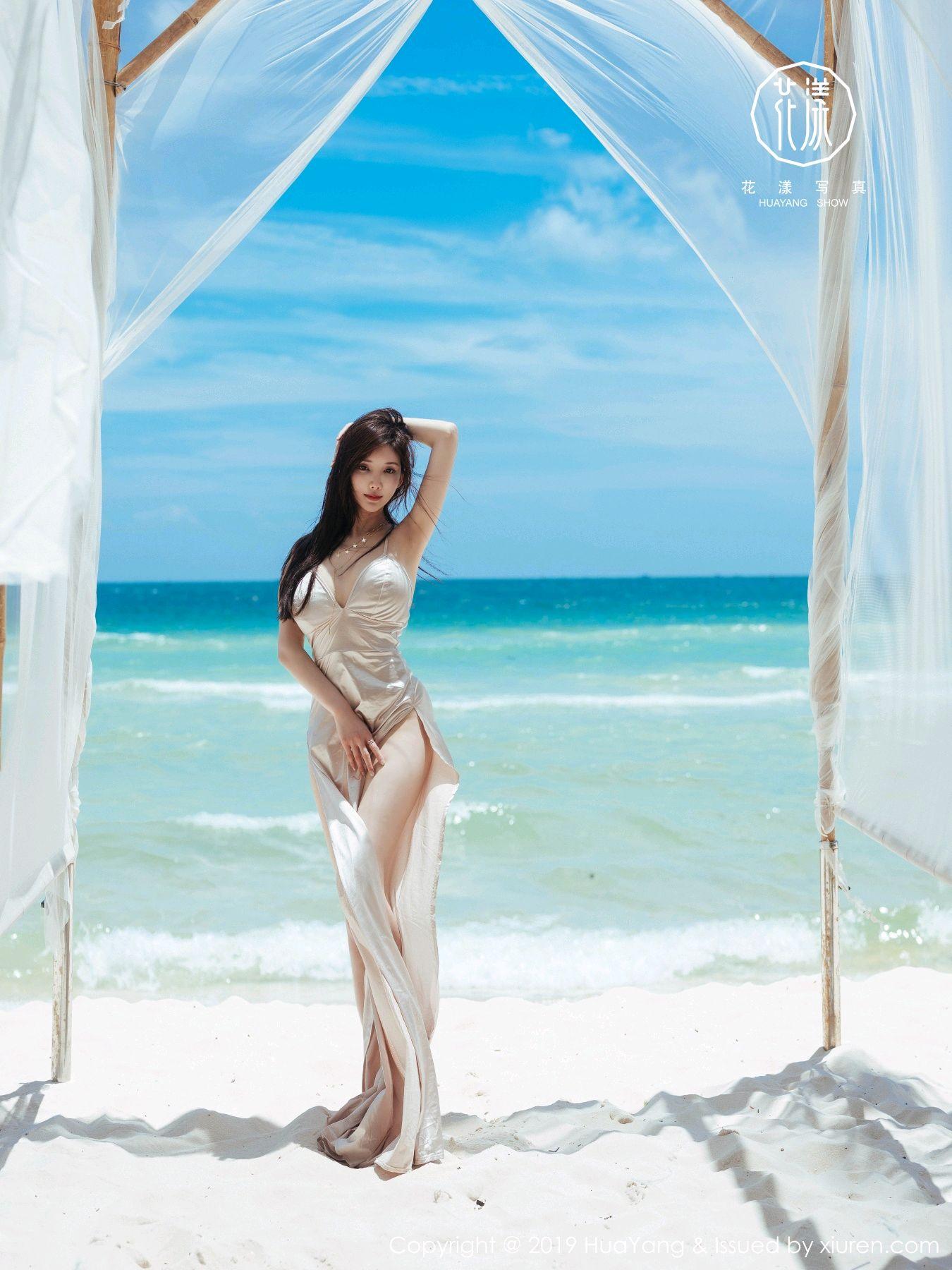 [Huayang] Vol.149 Zhou Yan Xi 49P, Beach, Bikini, Black Silk, HuaYang, Tall, Zhou Yan Xi