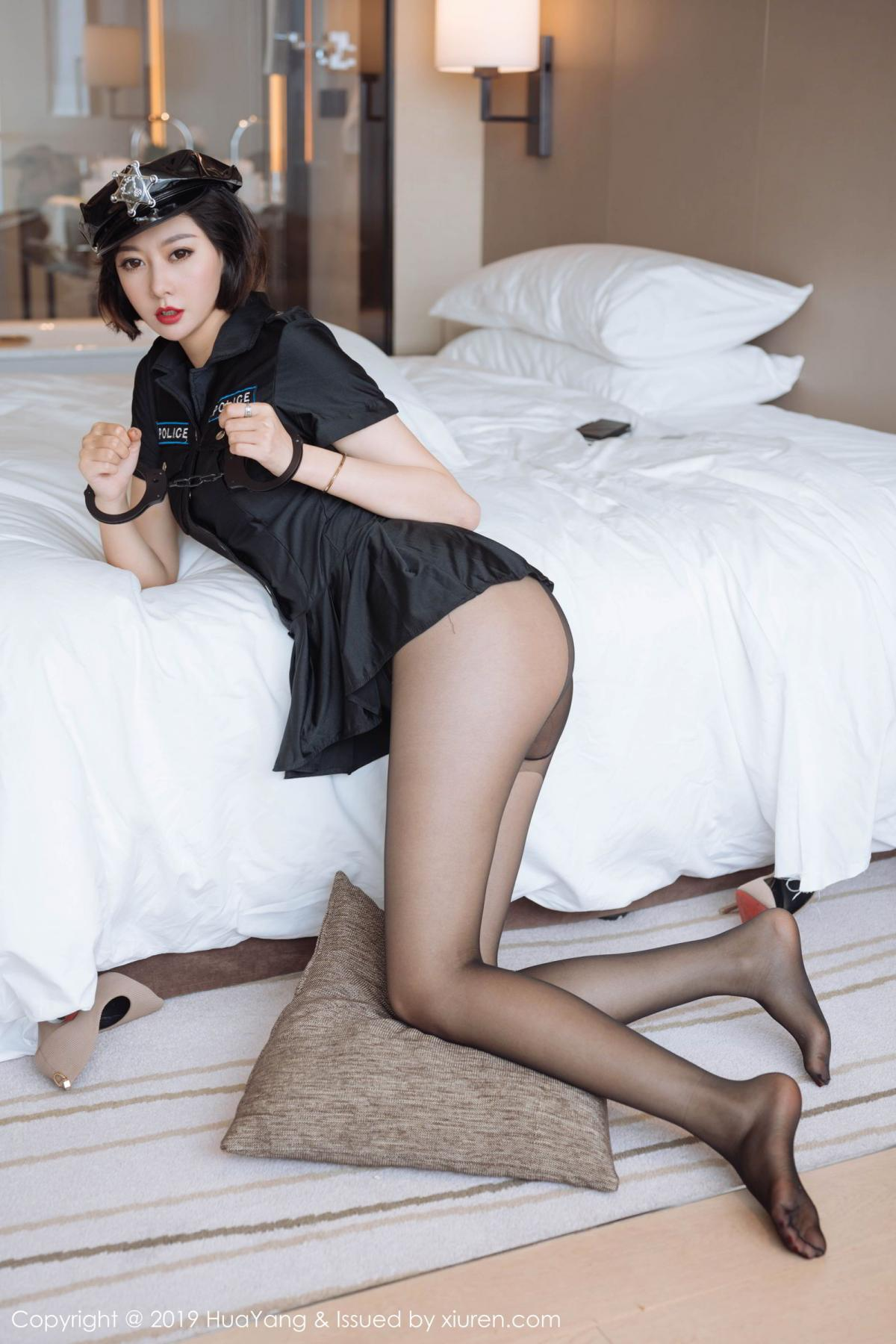 [Huayang] Vol.179 Fu Yi Xuan 17P, Black Silk, Fu Yi Xuan, HuaYang, Policewoman, Tall, Uniform