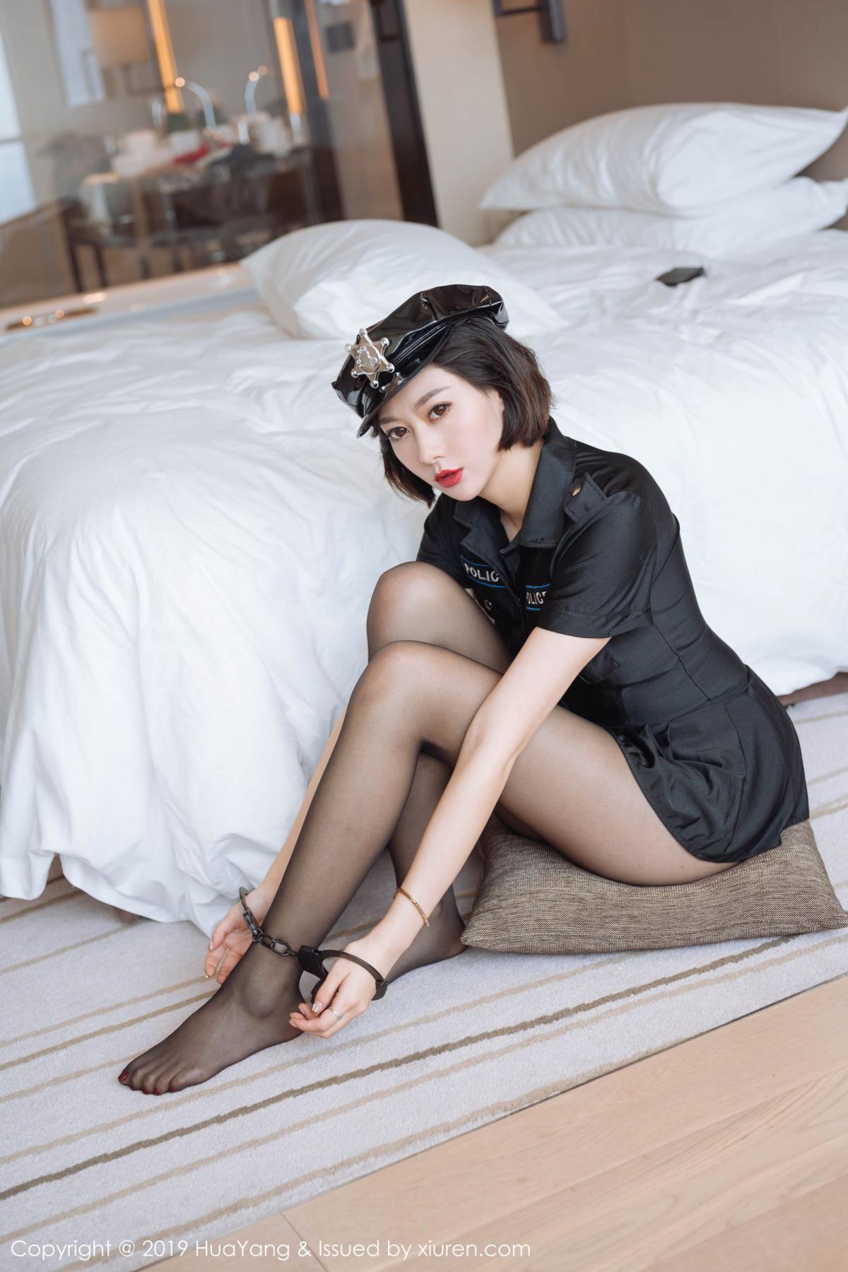 [Huayang] Vol.179 Fu Yi Xuan 18P, Black Silk, Fu Yi Xuan, HuaYang, Policewoman, Tall, Uniform