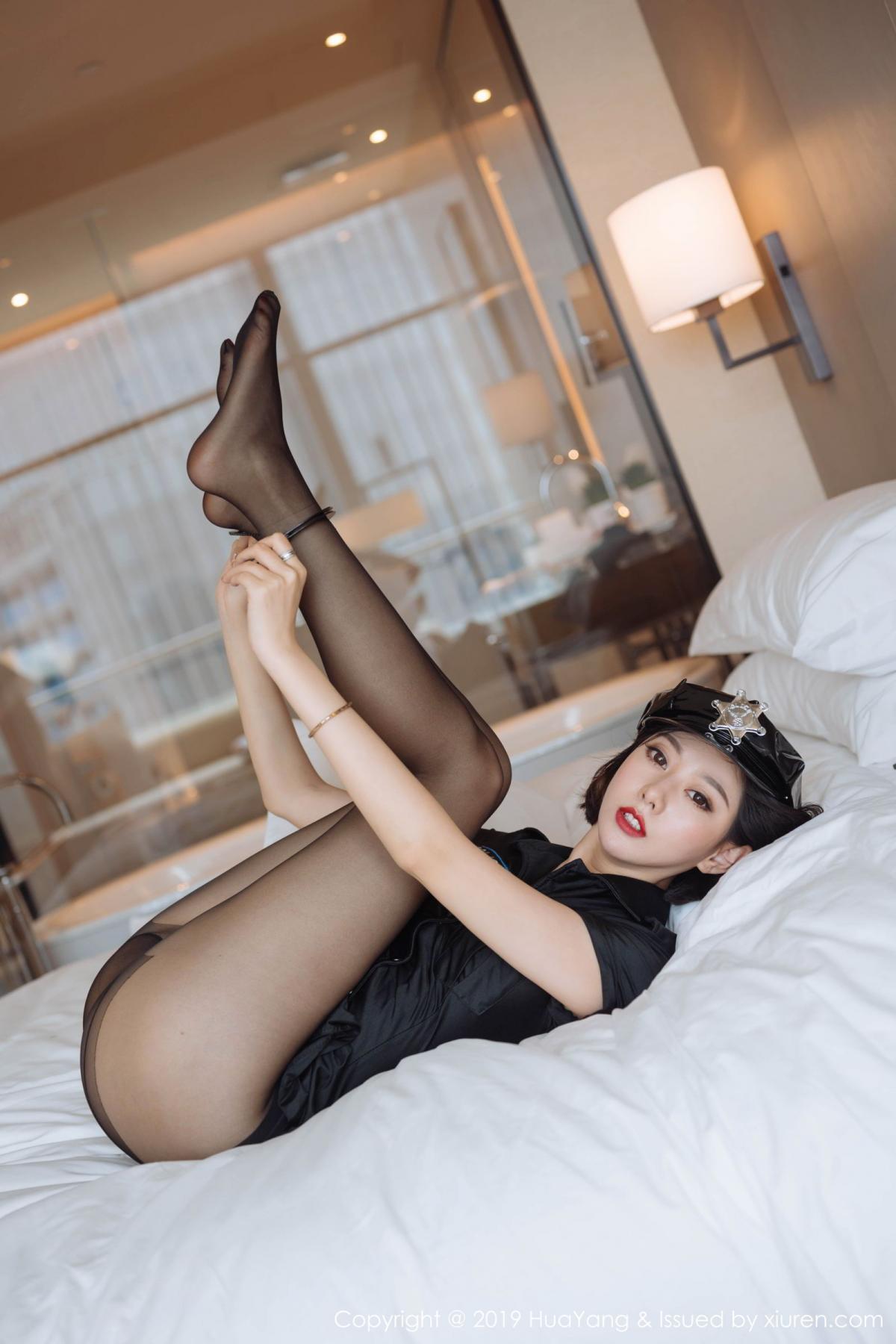 [Huayang] Vol.179 Fu Yi Xuan 31P, Black Silk, Fu Yi Xuan, HuaYang, Policewoman, Tall, Uniform