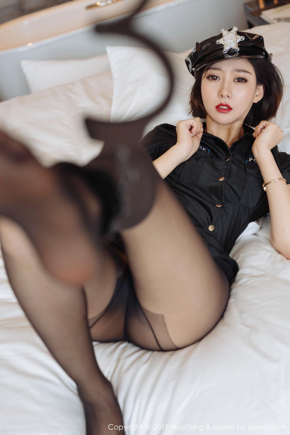 [Huayang] Vol.179 Fu Yi Xuan 36P, Black Silk, Fu Yi Xuan, HuaYang, Policewoman, Tall, Uniform