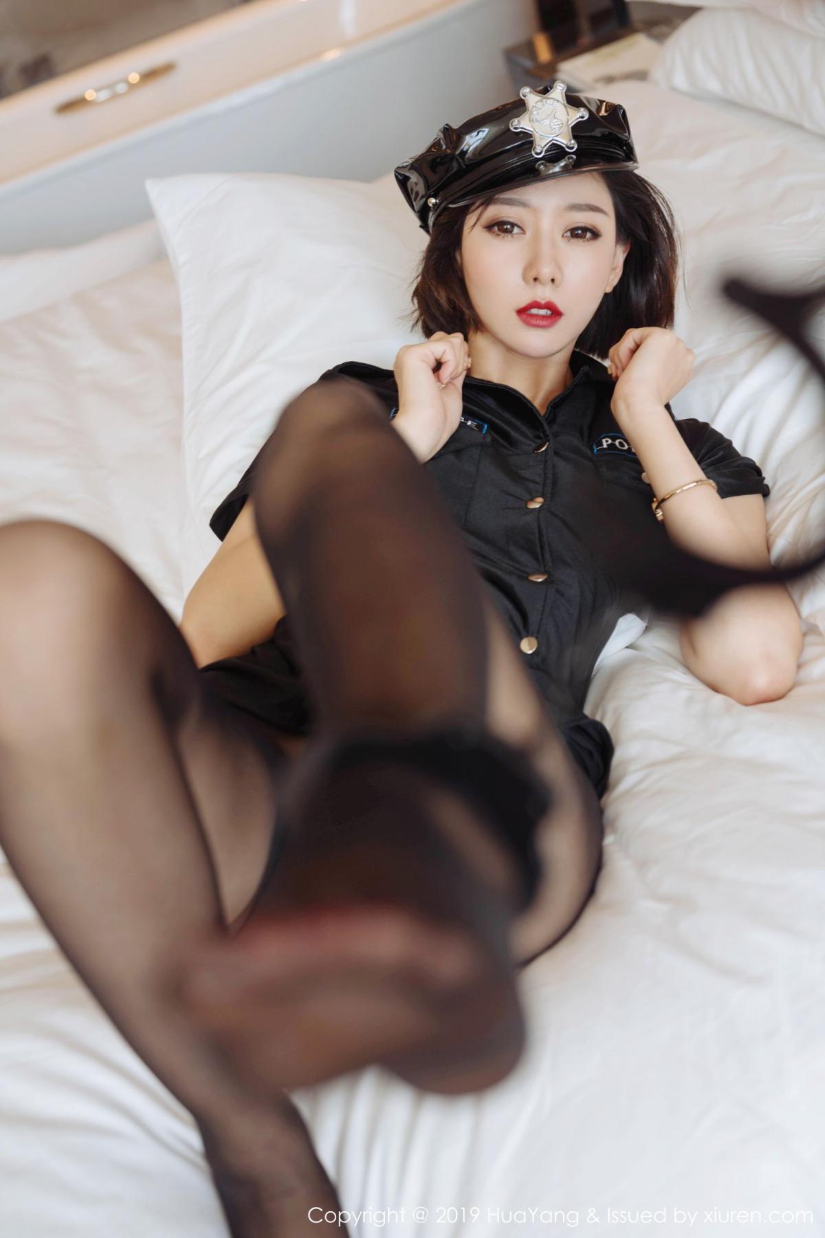 [Huayang] Vol.179 Fu Yi Xuan 37P, Black Silk, Fu Yi Xuan, HuaYang, Policewoman, Tall, Uniform