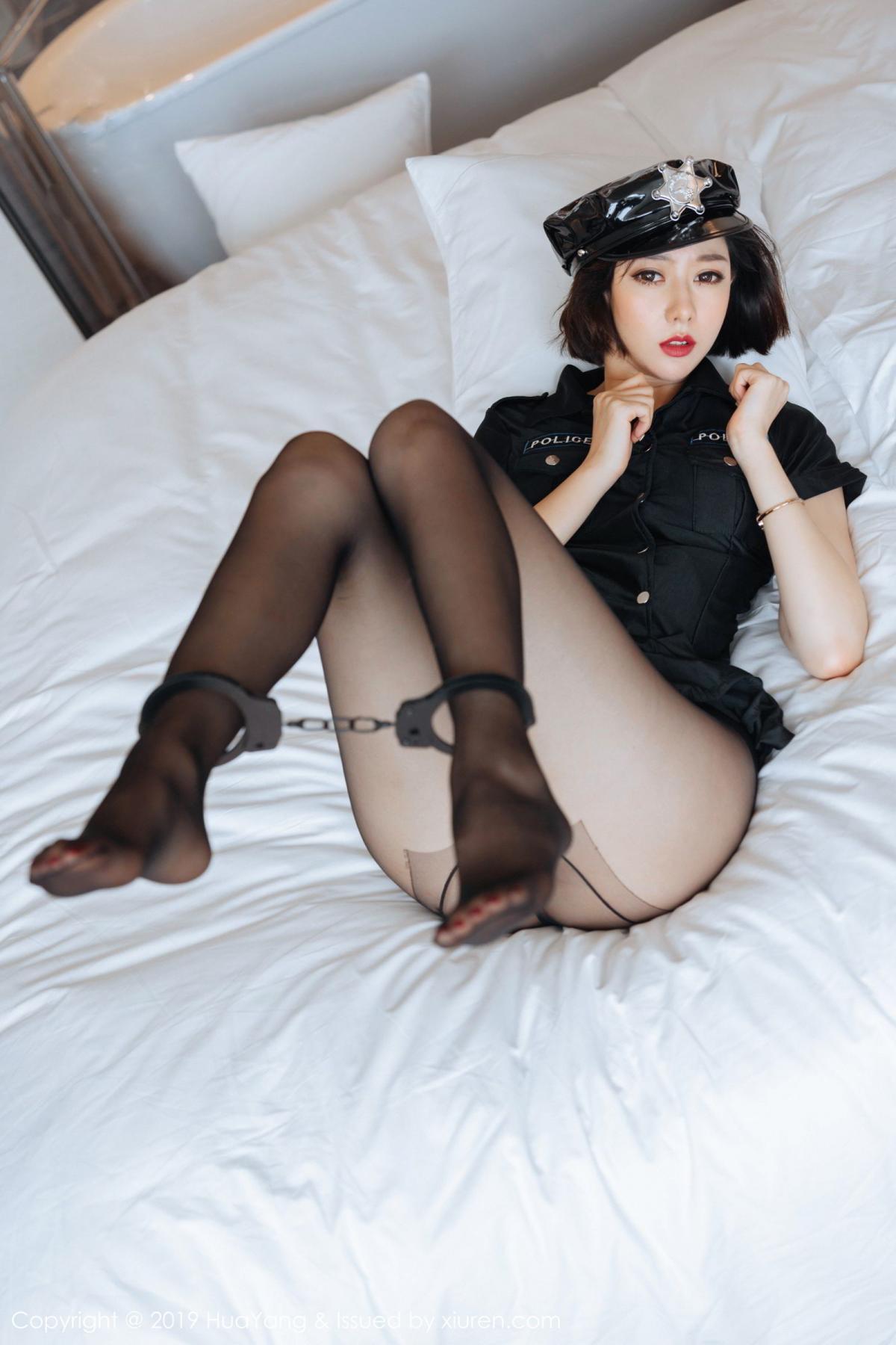 [Huayang] Vol.179 Fu Yi Xuan 4P, Black Silk, Fu Yi Xuan, HuaYang, Policewoman, Tall, Uniform