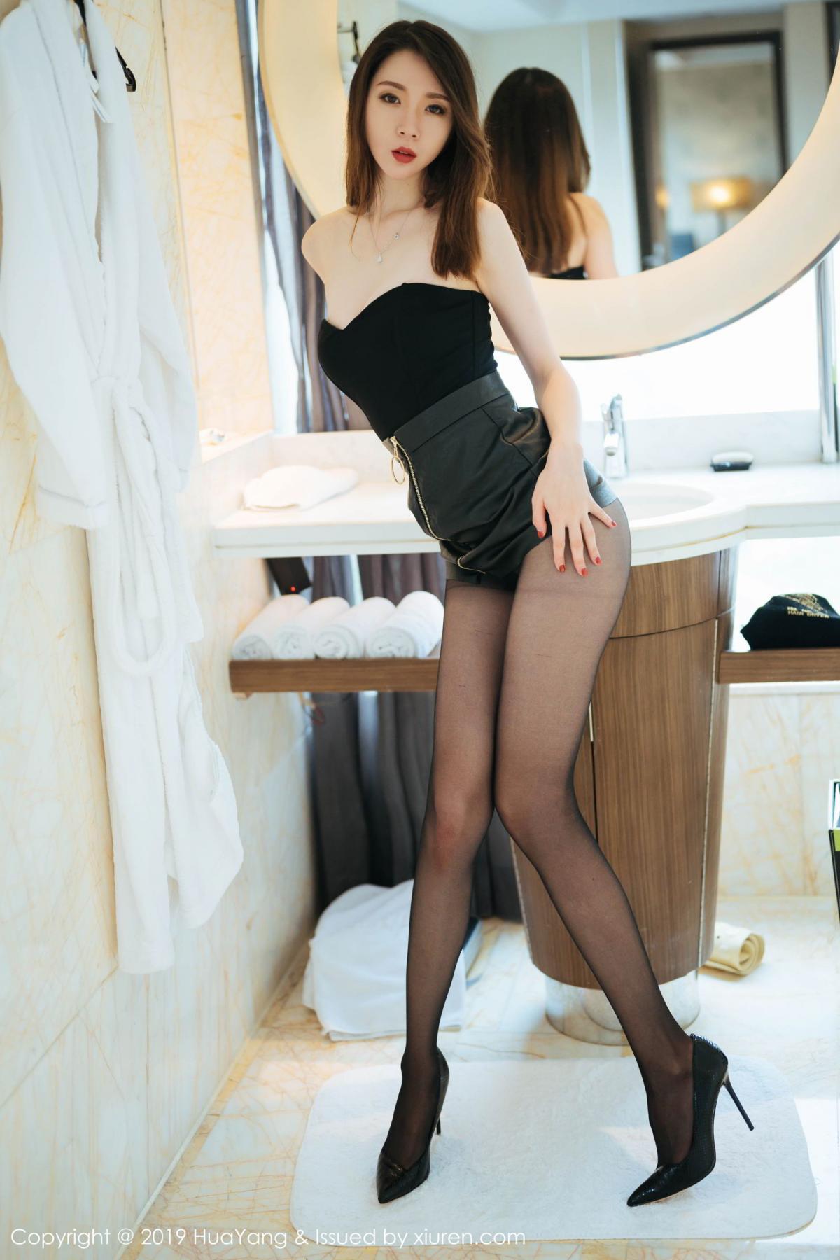 [Huayang] Vol.187 Meng Xin Yue 3P, Black Silk, HuaYang, Meng Xin Yue, Tall