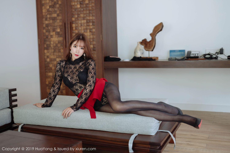 [Huayang] Vol.204 Zhou Yu Xi 28P, Black Silk, HuaYang, Underwear, Zhou Yu Xi