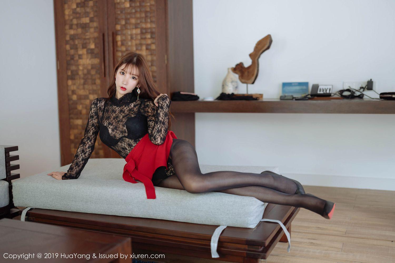 [Huayang] Vol.204 Zhou Yu Xi 29P, Black Silk, HuaYang, Underwear, Zhou Yu Xi