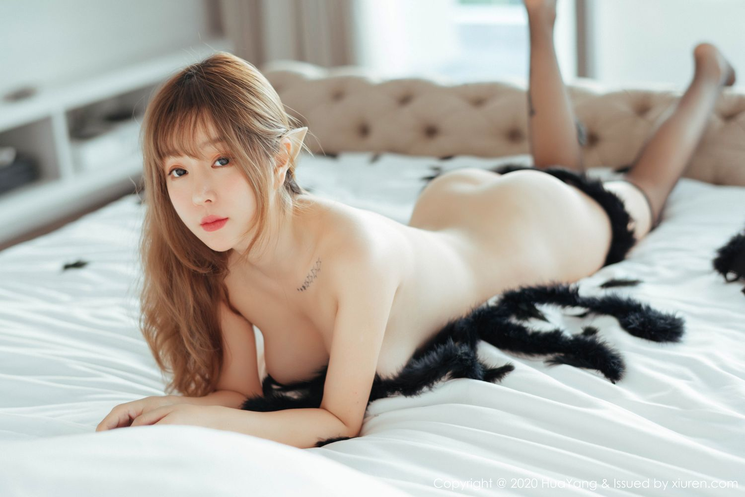[Huayang] Vol.206 Wang Yu Chun 27P, Adult, Black Silk, HuaYang, Wang Yu Chun