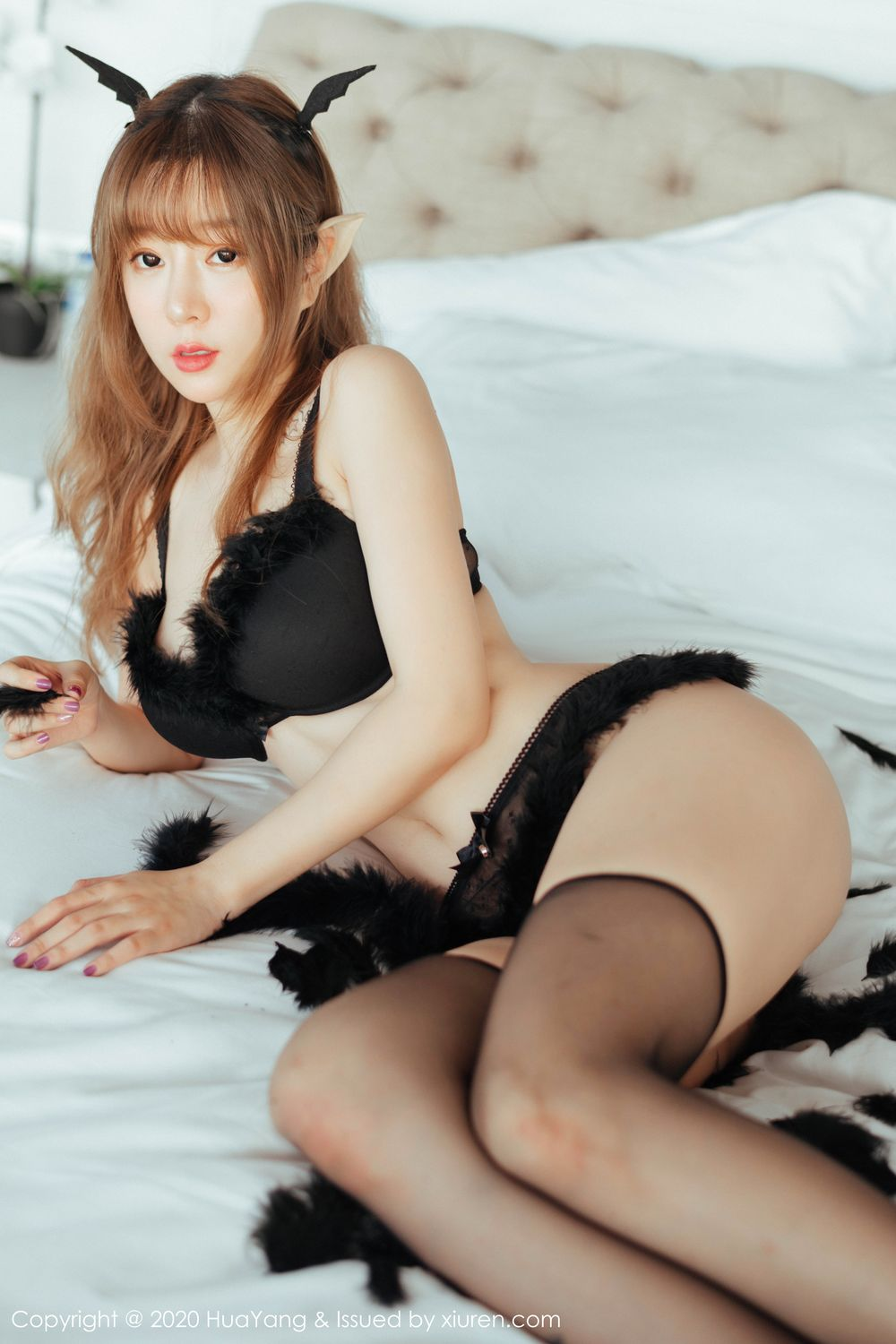 [Huayang] Vol.206 Wang Yu Chun 6P, Adult, Black Silk, HuaYang, Wang Yu Chun