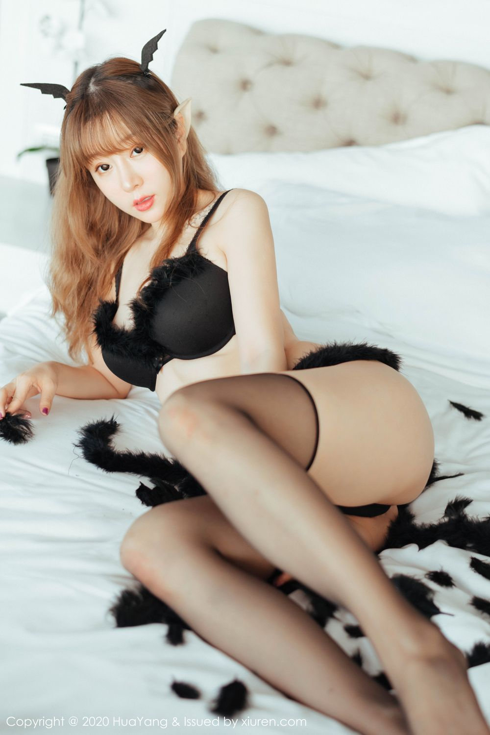 [Huayang] Vol.206 Wang Yu Chun 7P, Adult, Black Silk, HuaYang, Wang Yu Chun