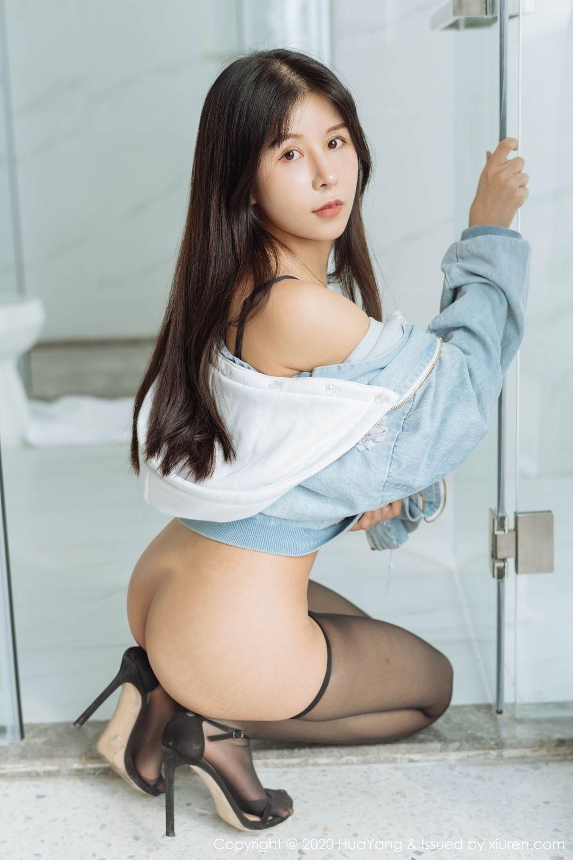 [Huayang] Vol.238 Ao Li 35P, Ao Li, Bathroom, Black Silk, HuaYang, Underwear