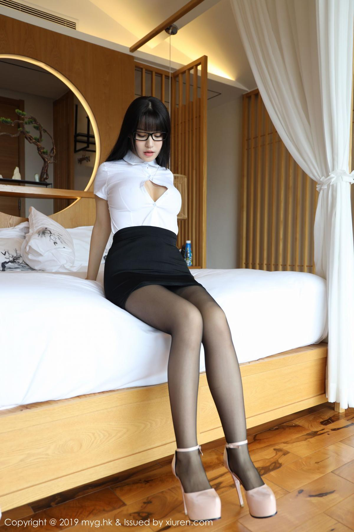 [MyGirl] Vol.368 Zhu Ke Er 10P, Black Silk, mygirl, Tall, Uniform, Zhu Ke Er