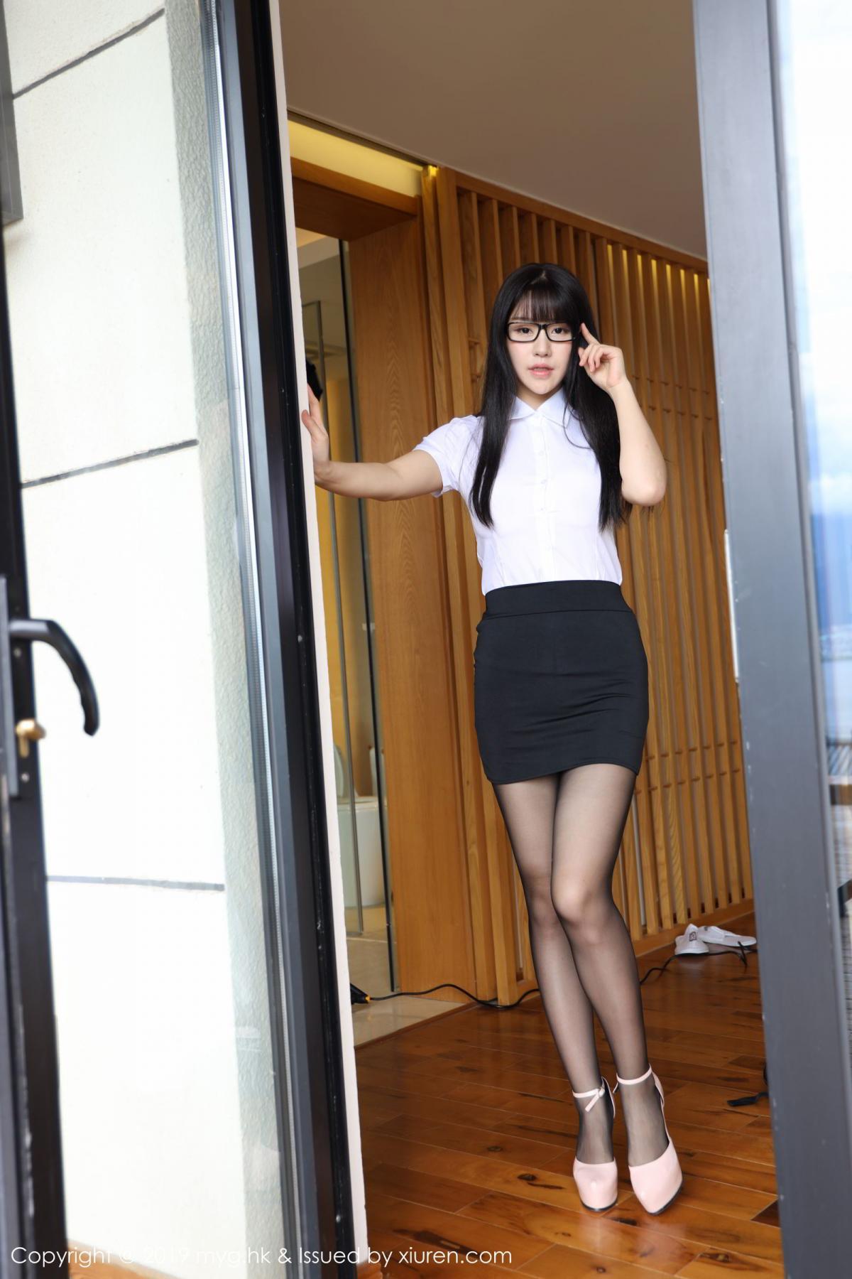 [MyGirl] Vol.368 Zhu Ke Er 55P, Black Silk, mygirl, Tall, Uniform, Zhu Ke Er