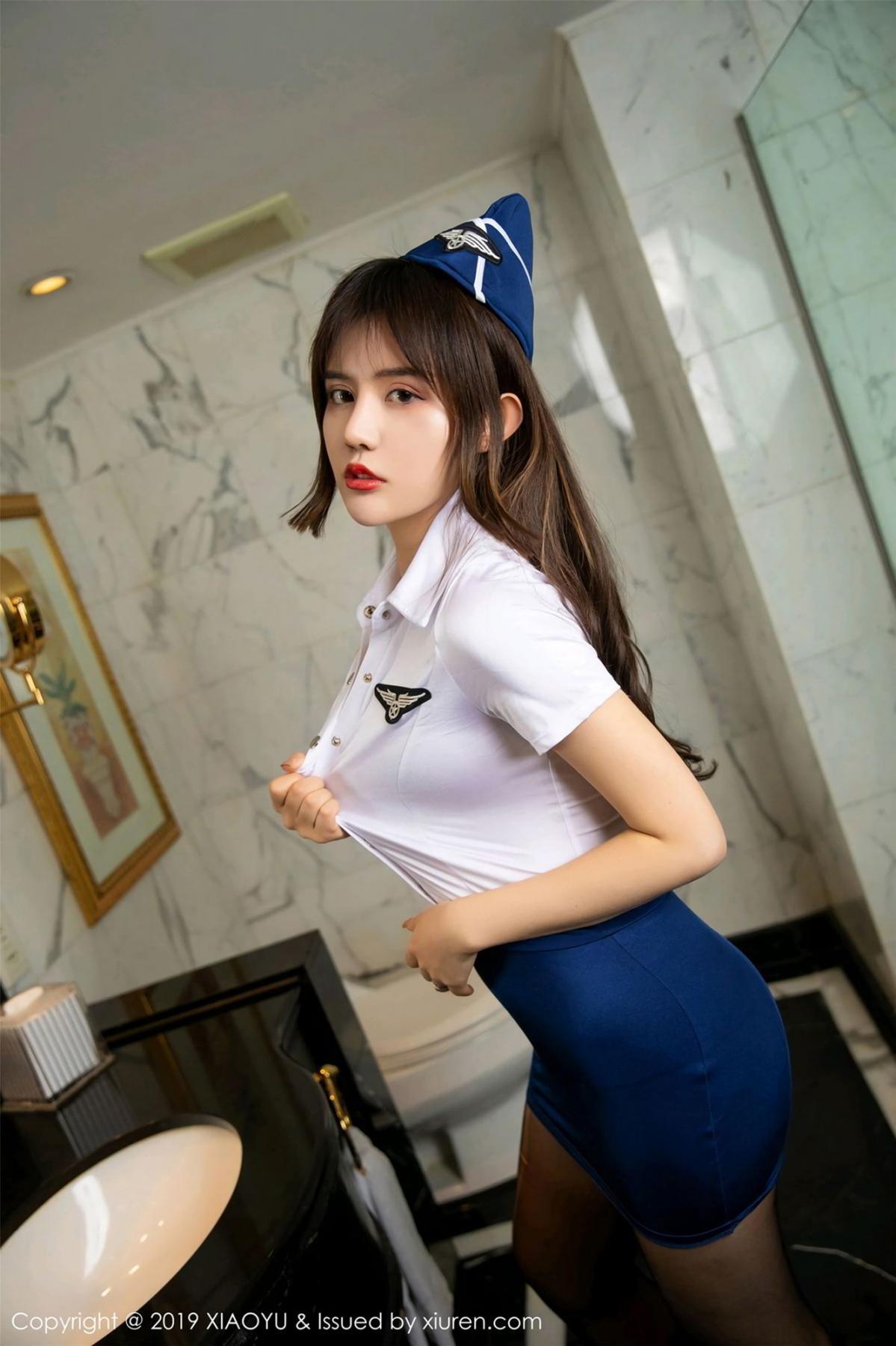 [XIAOYU] Vol.117 Zhuo Ya Qi 12P, Black Silk, Stewardess, Tall, XiaoYu, Zhuo Ya Qi