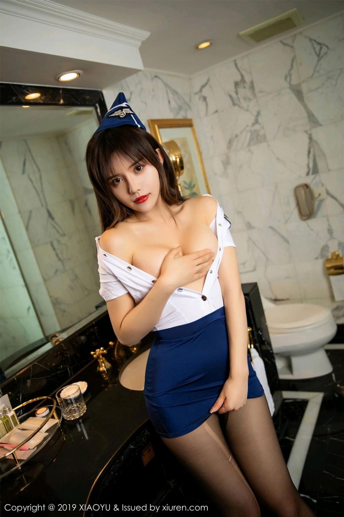 [XIAOYU] Vol.117 Zhuo Ya Qi 18P, Black Silk, Stewardess, Tall, XiaoYu, Zhuo Ya Qi