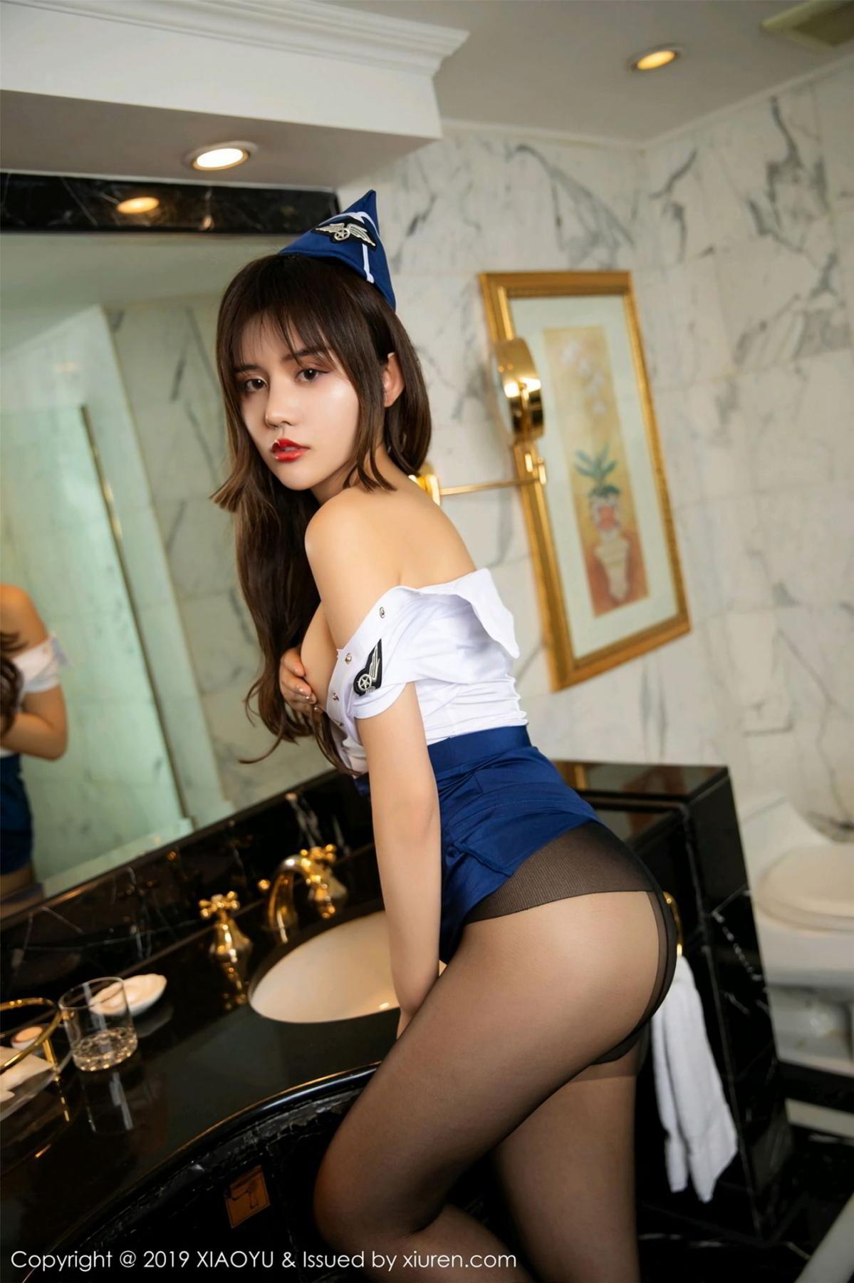 [XIAOYU] Vol.117 Zhuo Ya Qi 23P, Black Silk, Stewardess, Tall, XiaoYu, Zhuo Ya Qi