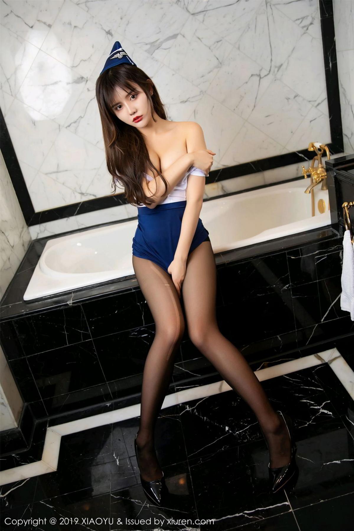 [XIAOYU] Vol.117 Zhuo Ya Qi 44P, Black Silk, Stewardess, Tall, XiaoYu, Zhuo Ya Qi