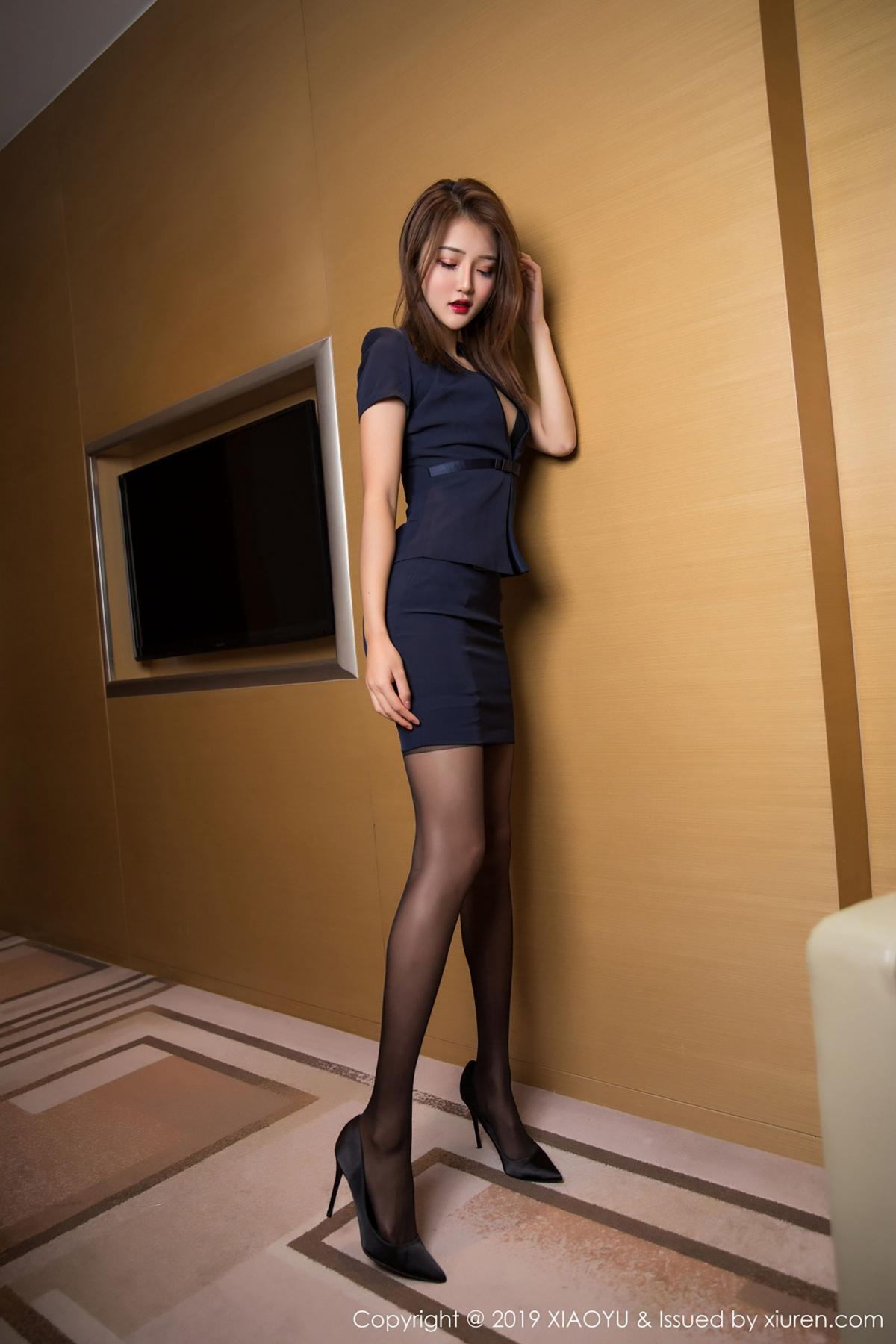 [XiaoYu] Vol.008 Miko Jiang 55P, Black Silk, Miko Jiang, Tall, Uniform, XiaoYu
