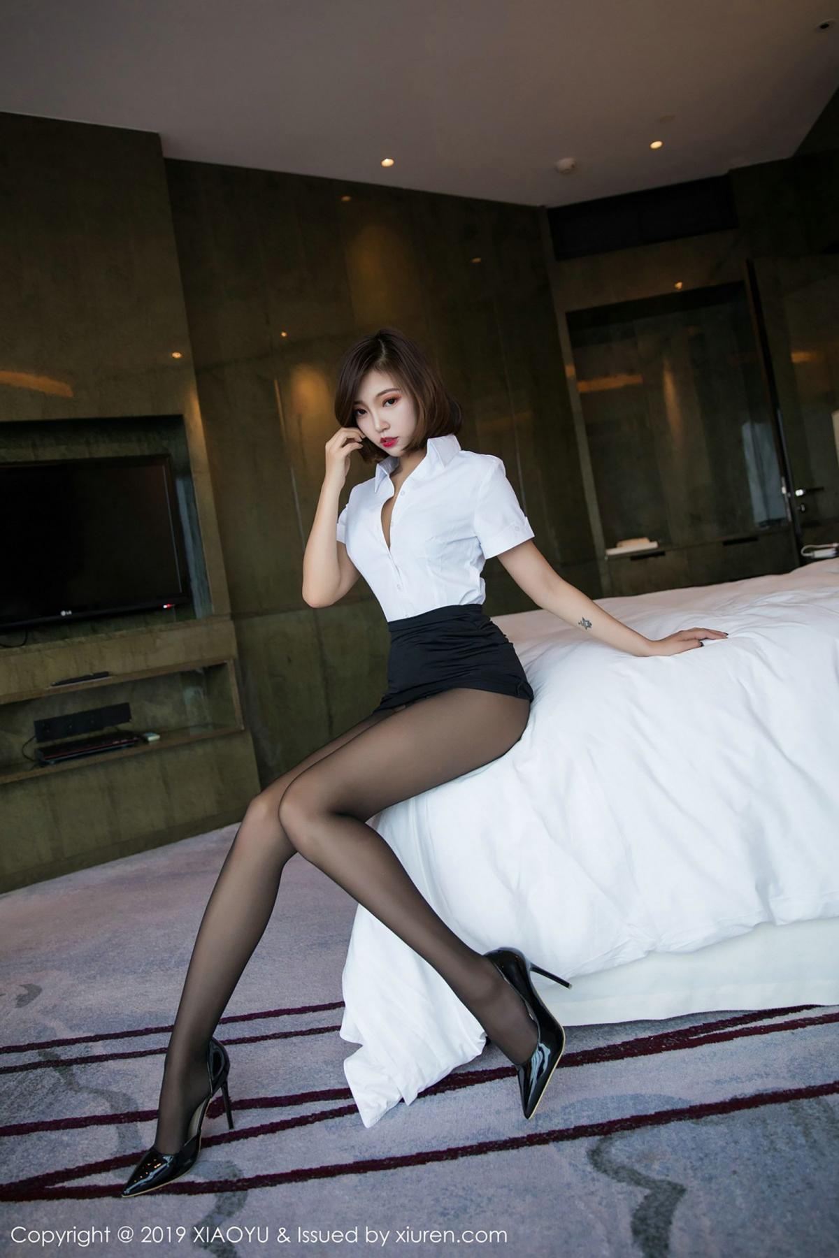 [XiaoYu] Vol.009 Feng Mu Mu 10P, Black Silk, Feng Mu Mu, Tall, Uniform, XiaoYu