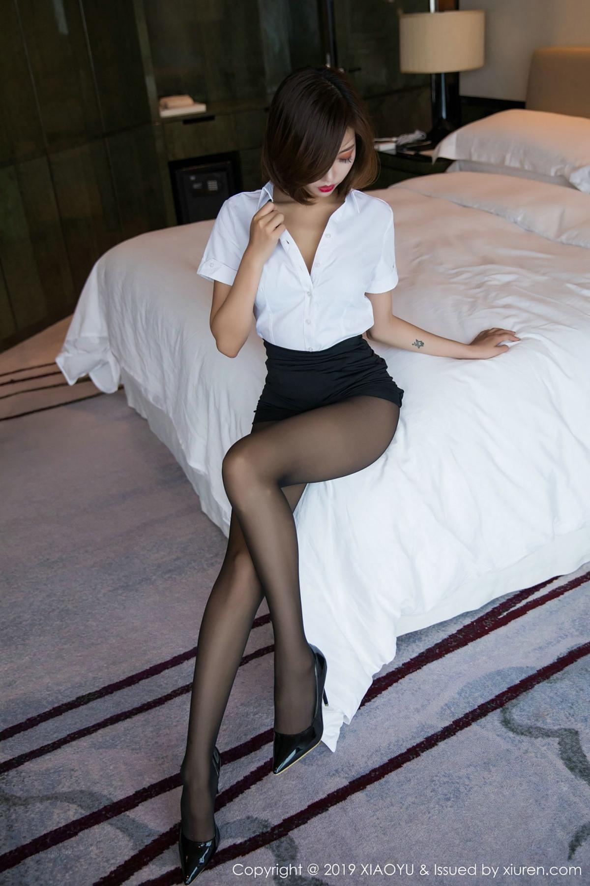 [XiaoYu] Vol.009 Feng Mu Mu 13P, Black Silk, Feng Mu Mu, Tall, Uniform, XiaoYu