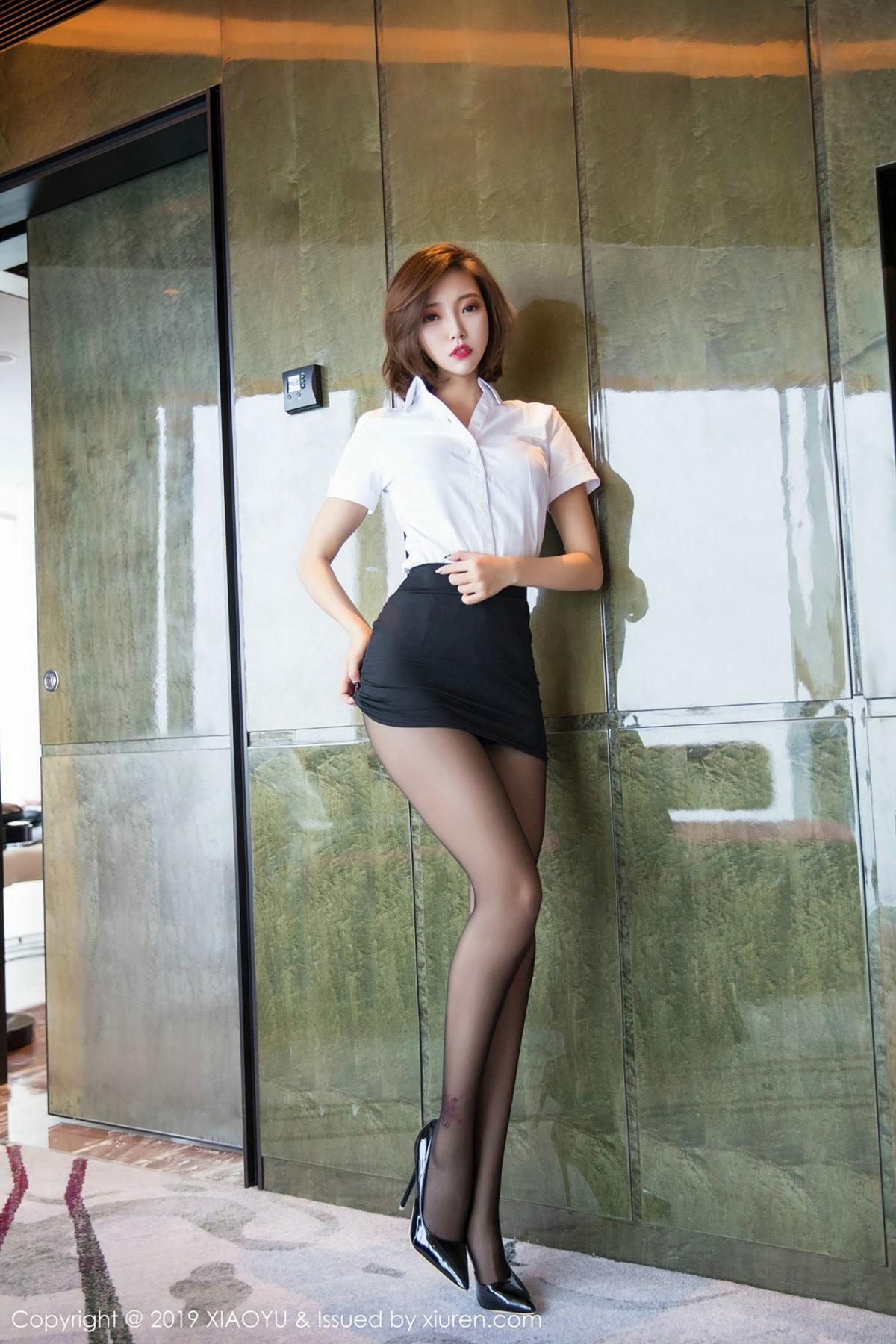 [XiaoYu] Vol.009 Feng Mu Mu 23P, Black Silk, Feng Mu Mu, Tall, Uniform, XiaoYu