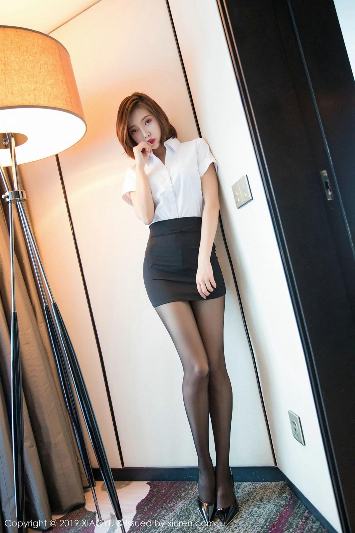 [XiaoYu] Vol.009 Feng Mu Mu 24P, Black Silk, Feng Mu Mu, Tall, Uniform, XiaoYu