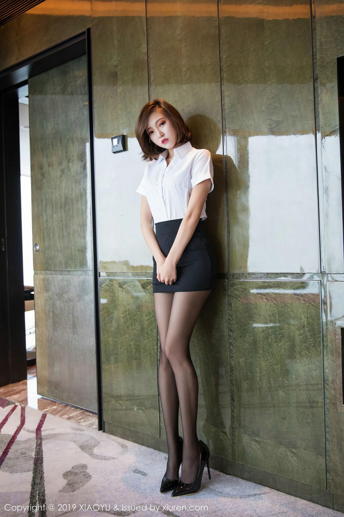 [XiaoYu] Vol.009 Feng Mu Mu 29P, Black Silk, Feng Mu Mu, Tall, Uniform, XiaoYu